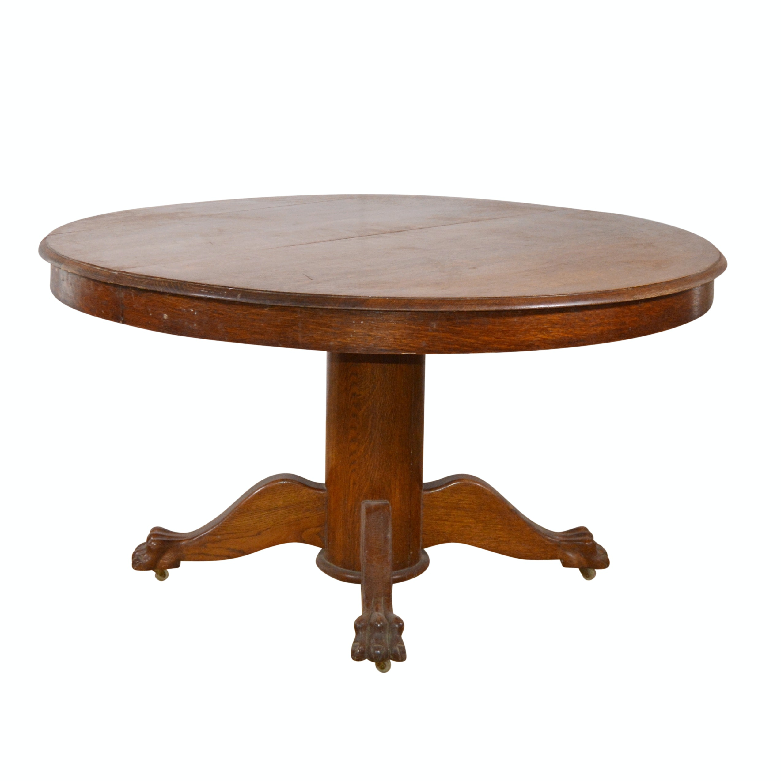 American Oak Circular Dining Table On Casters, Early 20th Century ...
