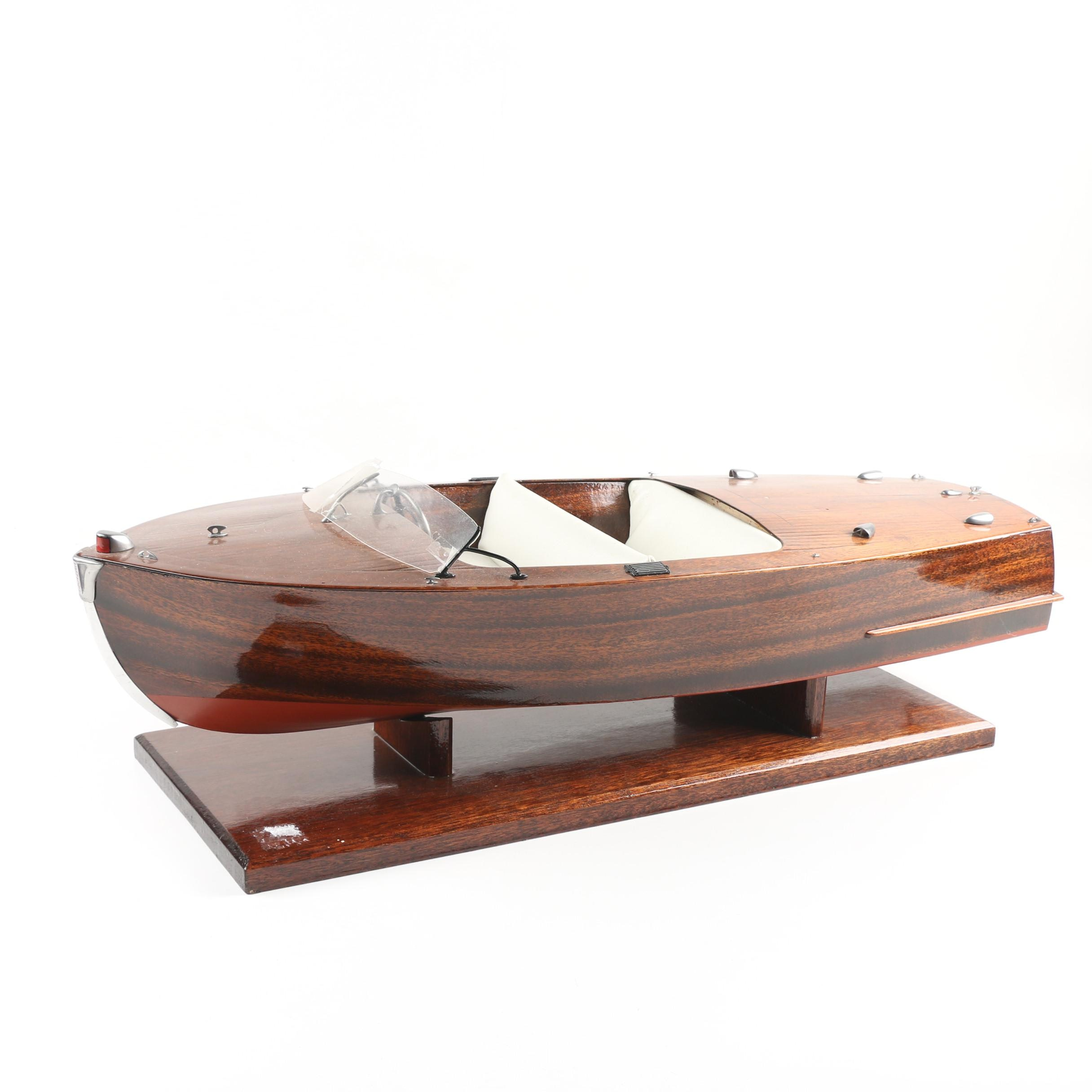 Decorative Mahogany Model of Finnish Runabout Speedboat with Stand, 20th Century