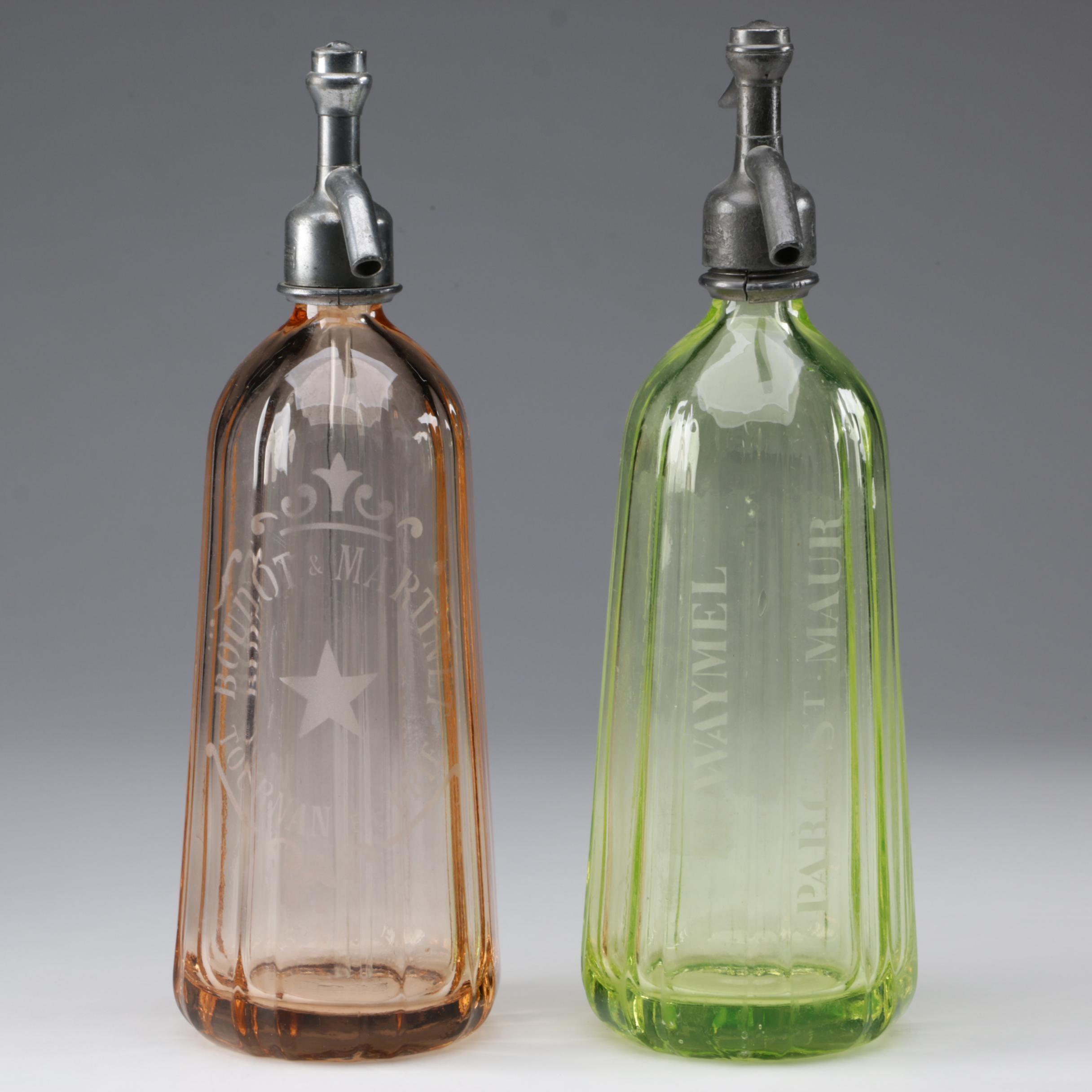 H. Waymel French Depression and Vaseline Glass Seltzer Bottles, 1930s