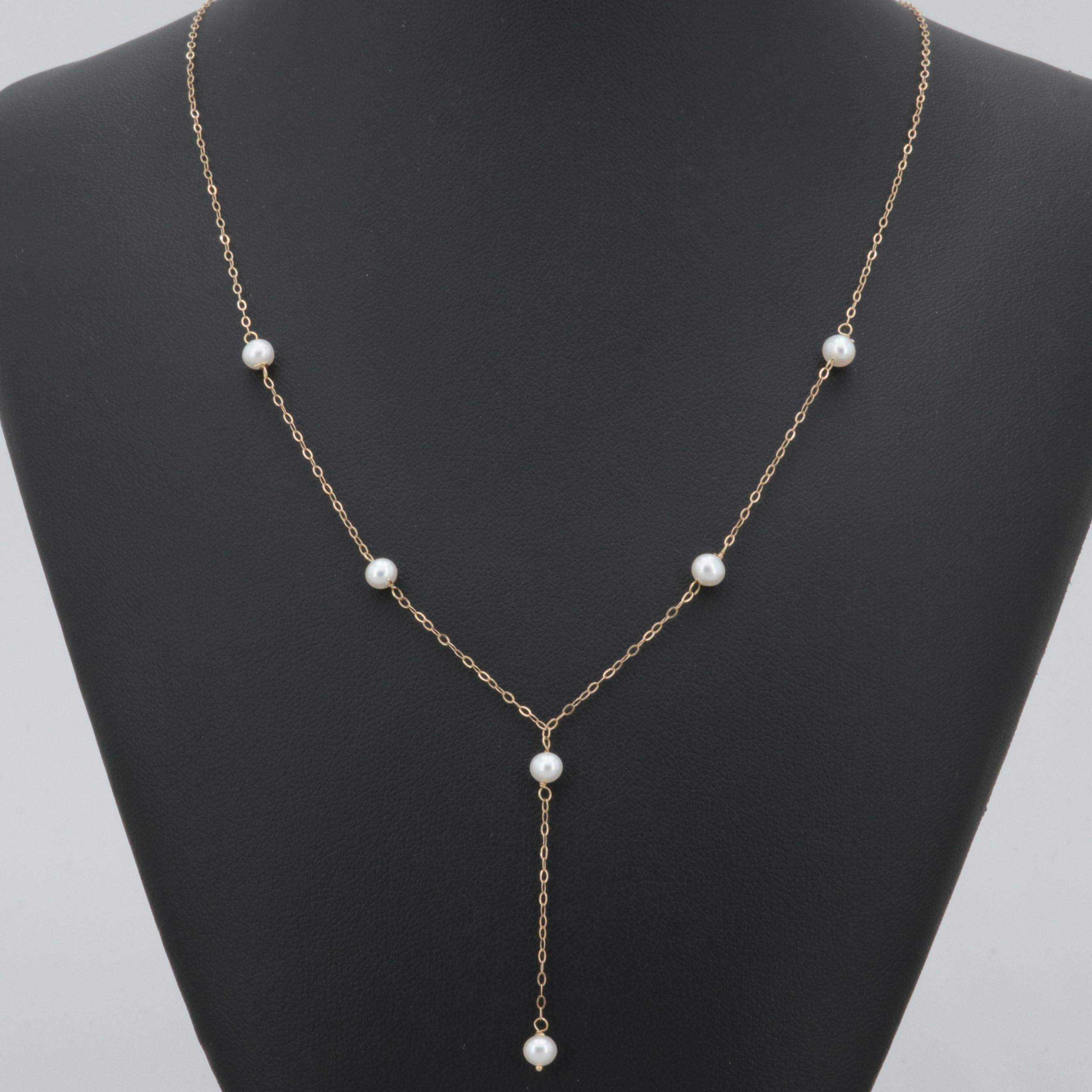 14K Yellow Gold Cultured Pearl Drop Necklace