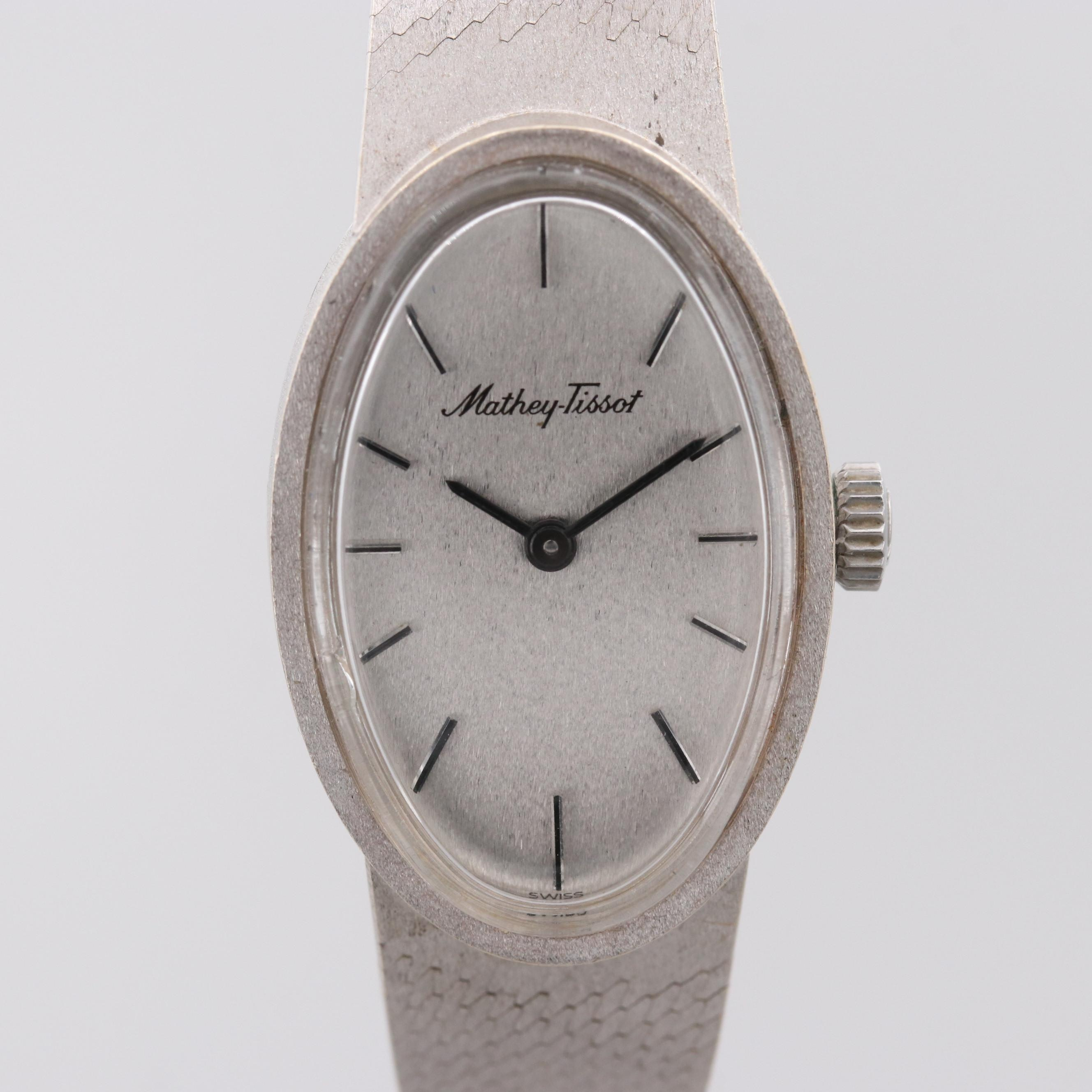 Vintage Mathey-Tissot Grand Prix 18K White Gold Stem Wind Wristwatch