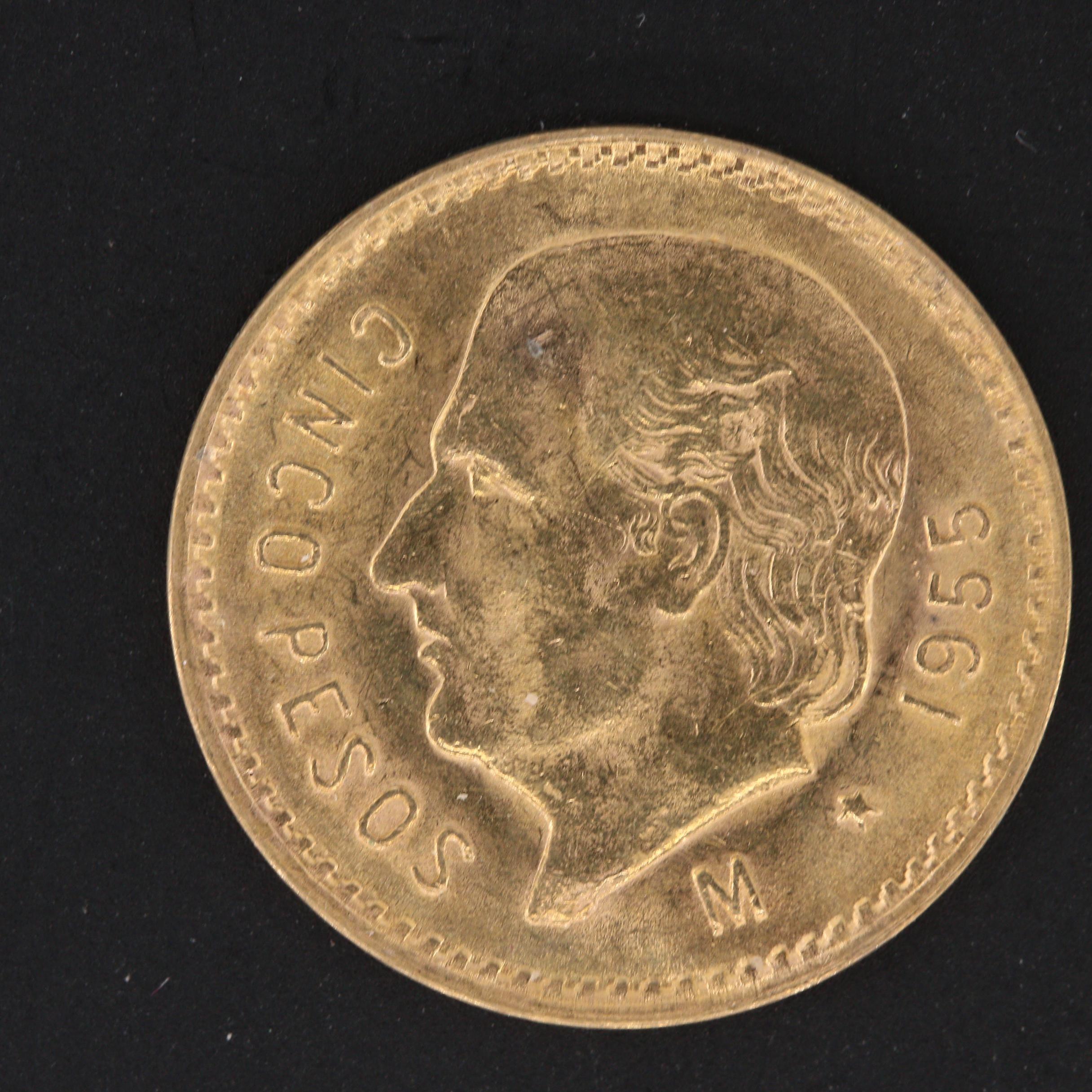 1955-M Mexico 5 Pesos Restike Gold Coin