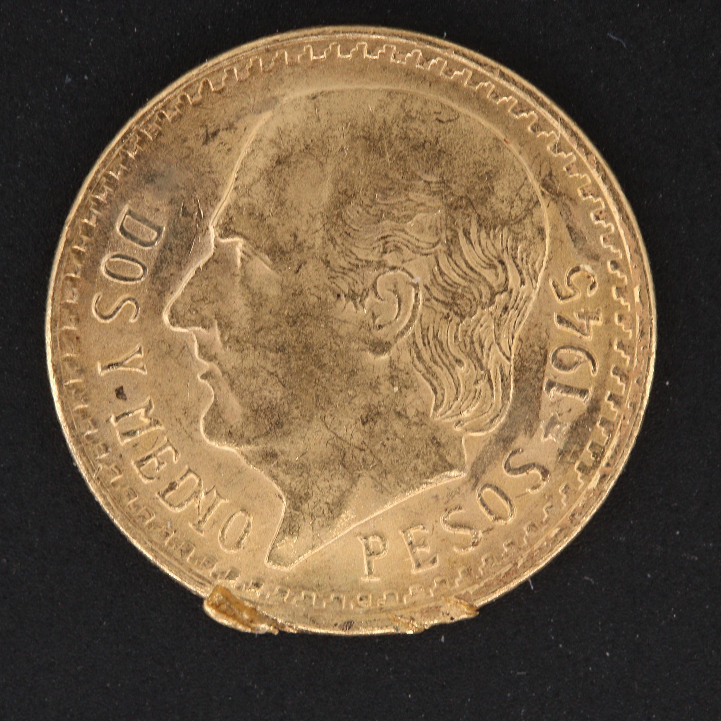 1945 Mexico 2 1/2 Pesos Restrike Gold Coin