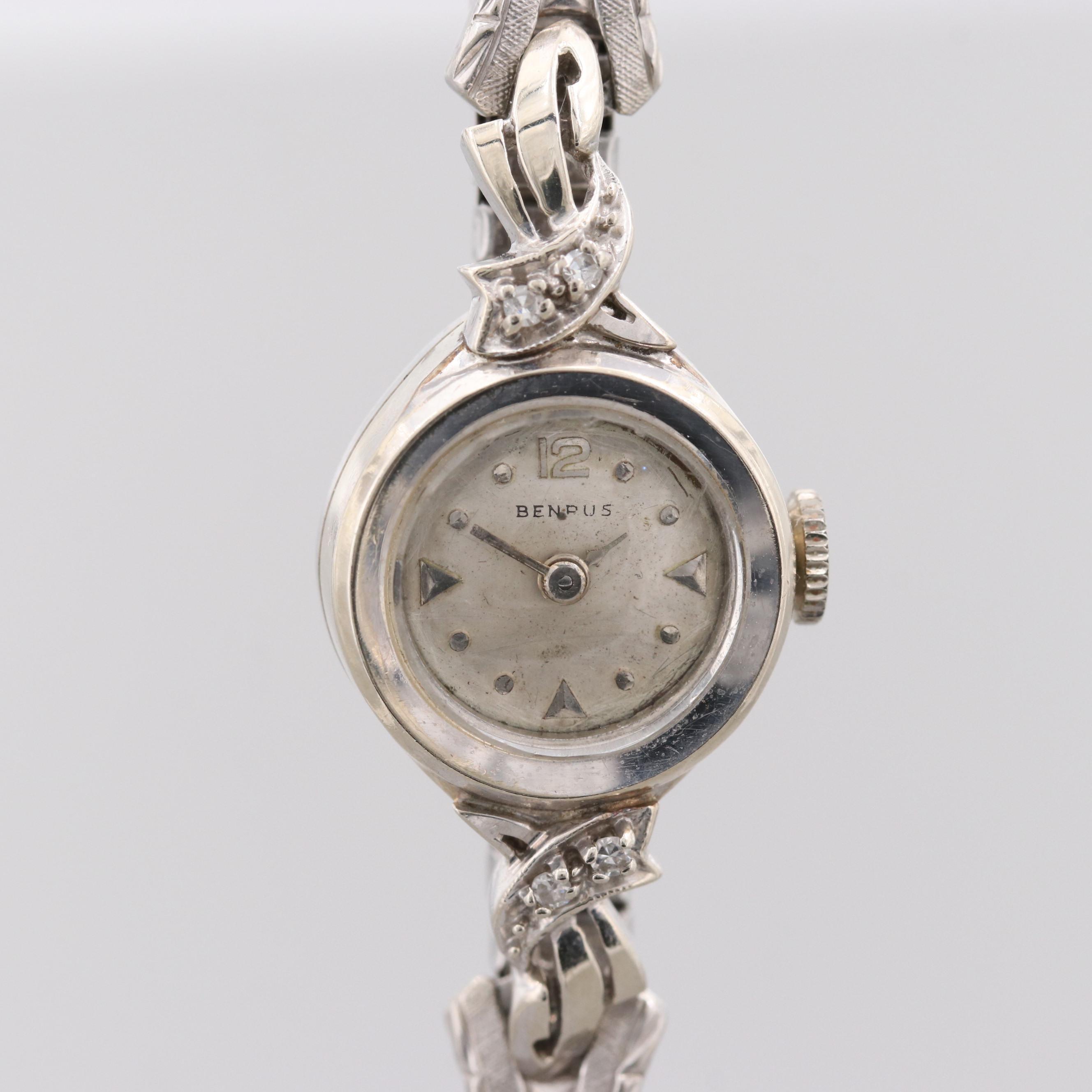 Vintage Benrus 14K White Gold Wristwatch With Diamond Lugs