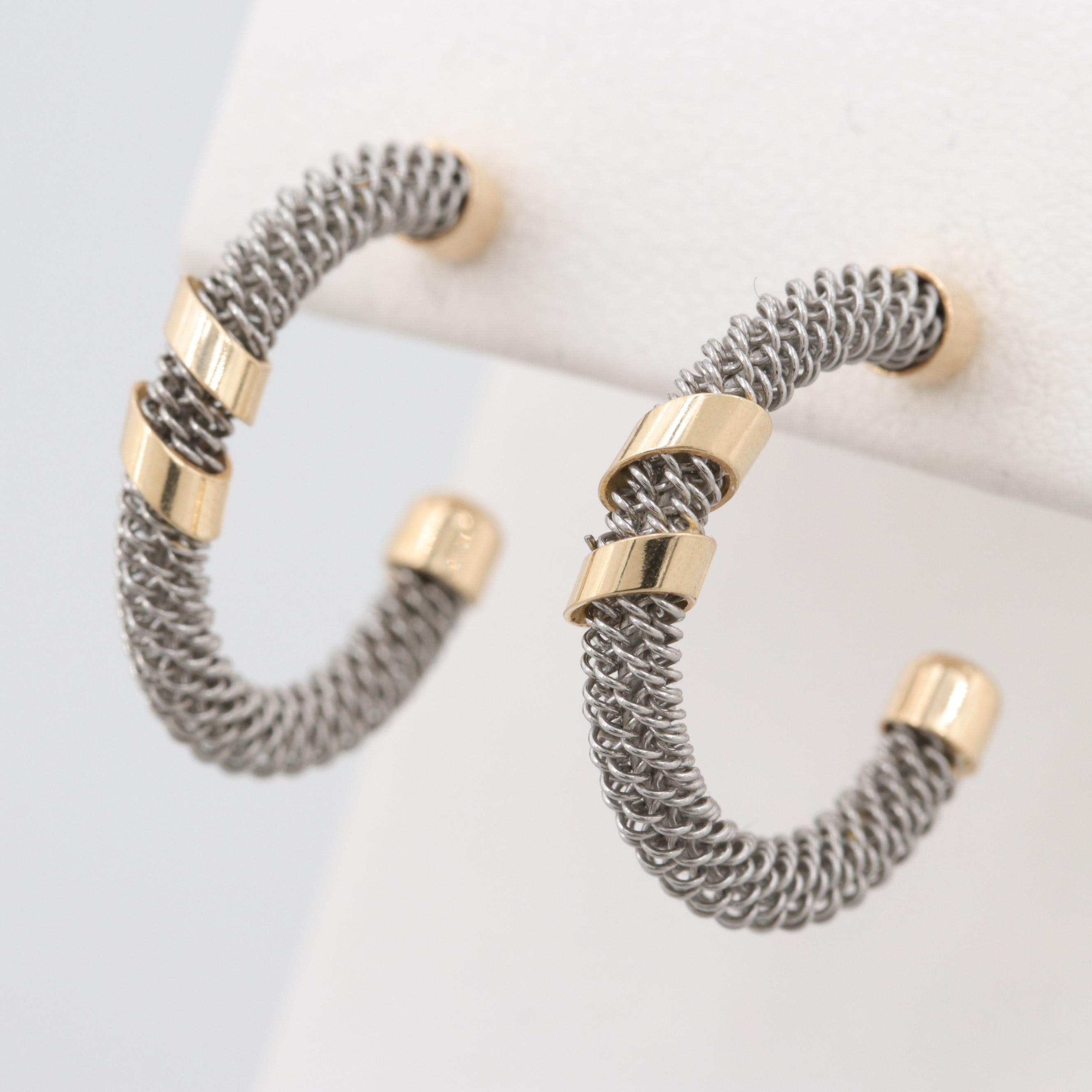 14K Yellow Gold and Silver Tone Earrings