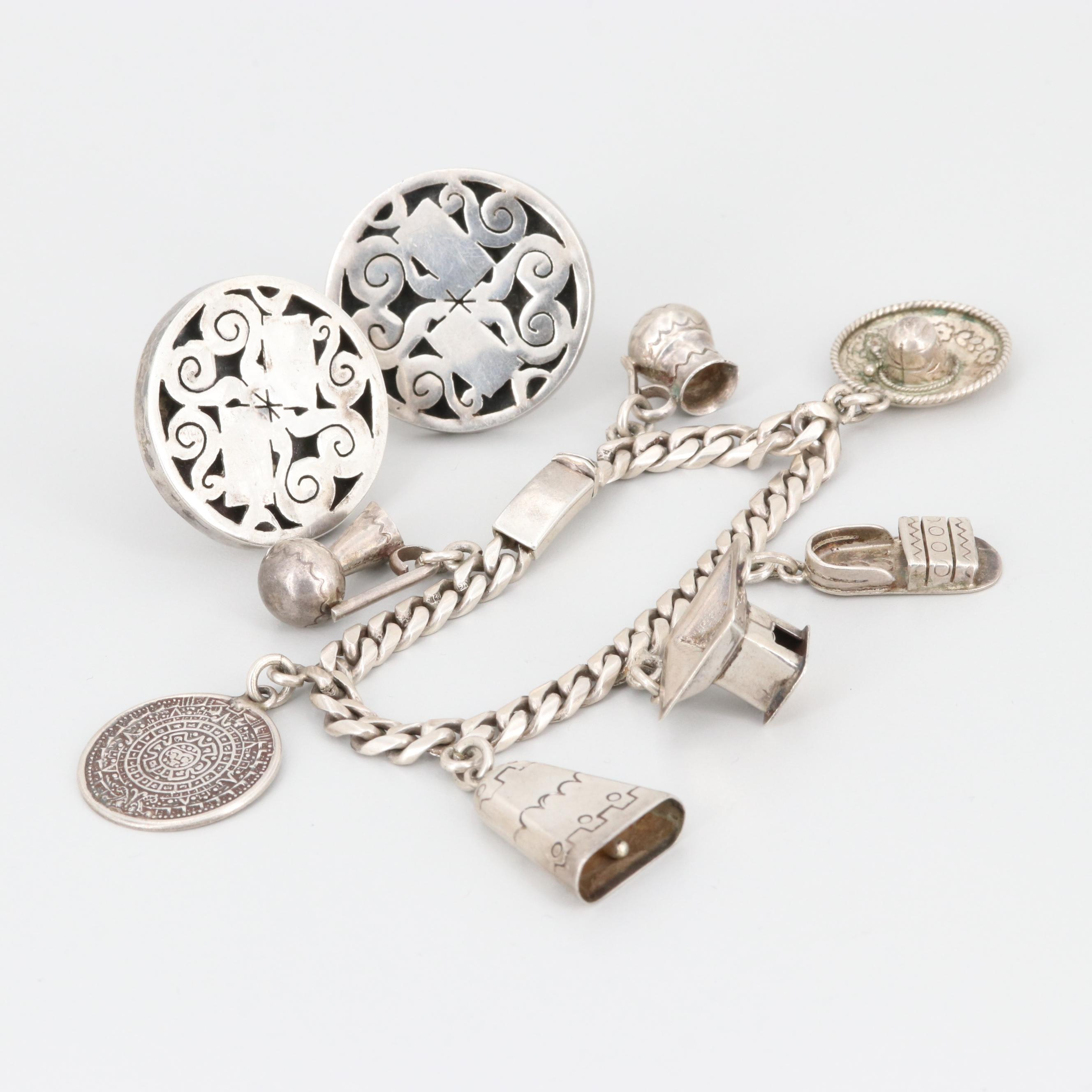 Mexican Sterling Silver Bracelet and Cufflinks