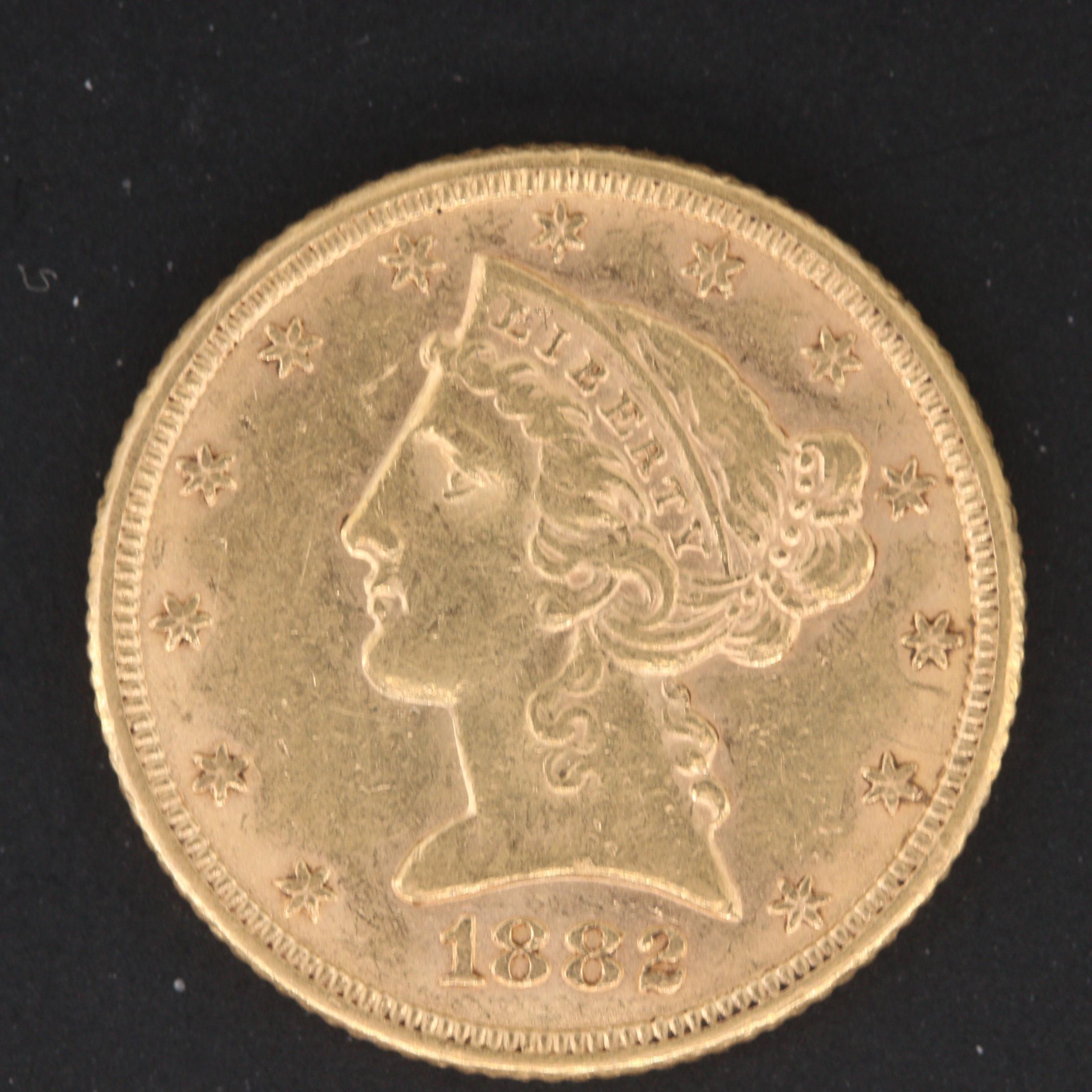 1882 Liberty Head $5 Half Eagle Gold Coin