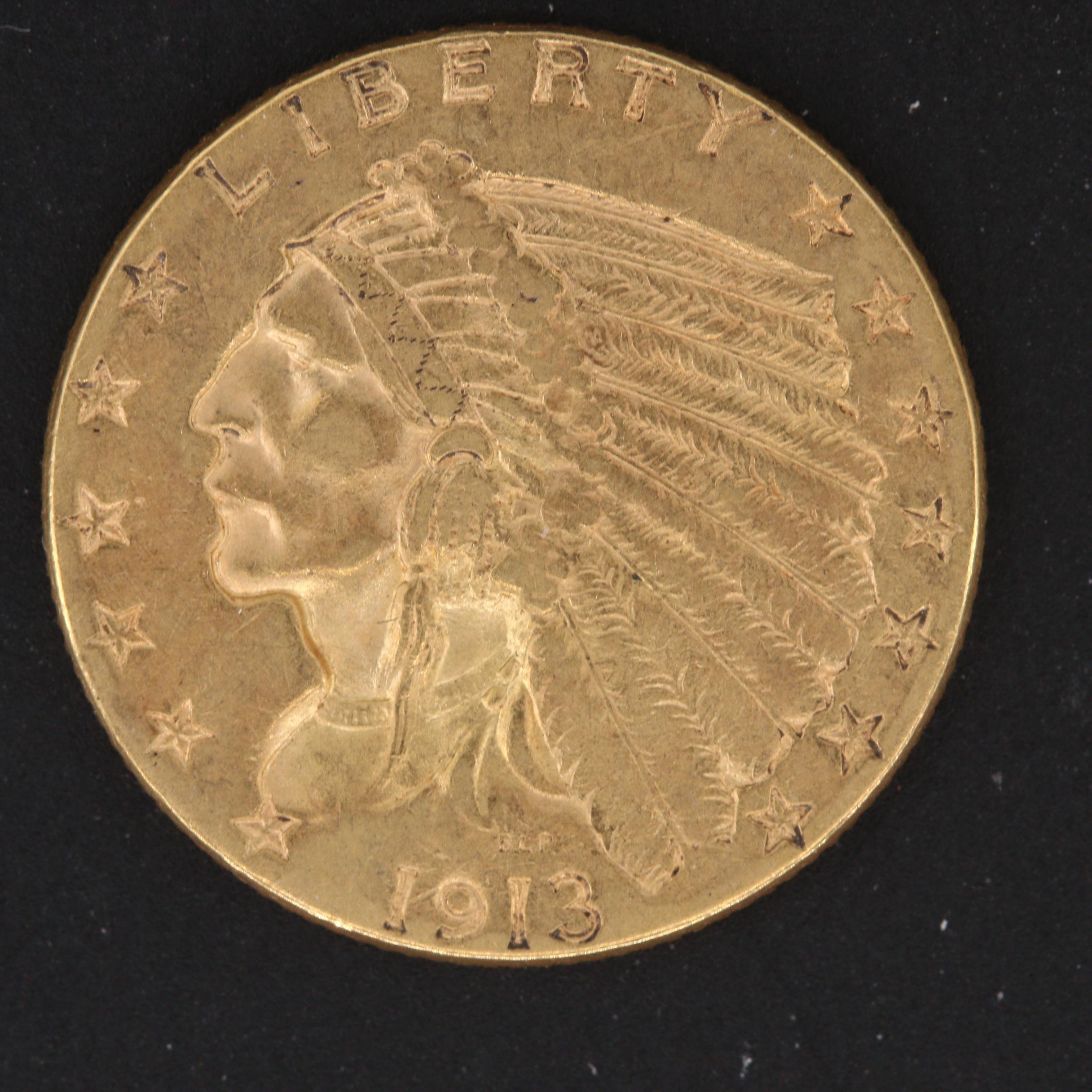 1913 Indian Head $2.50 Quarter Eagle Gold Coin