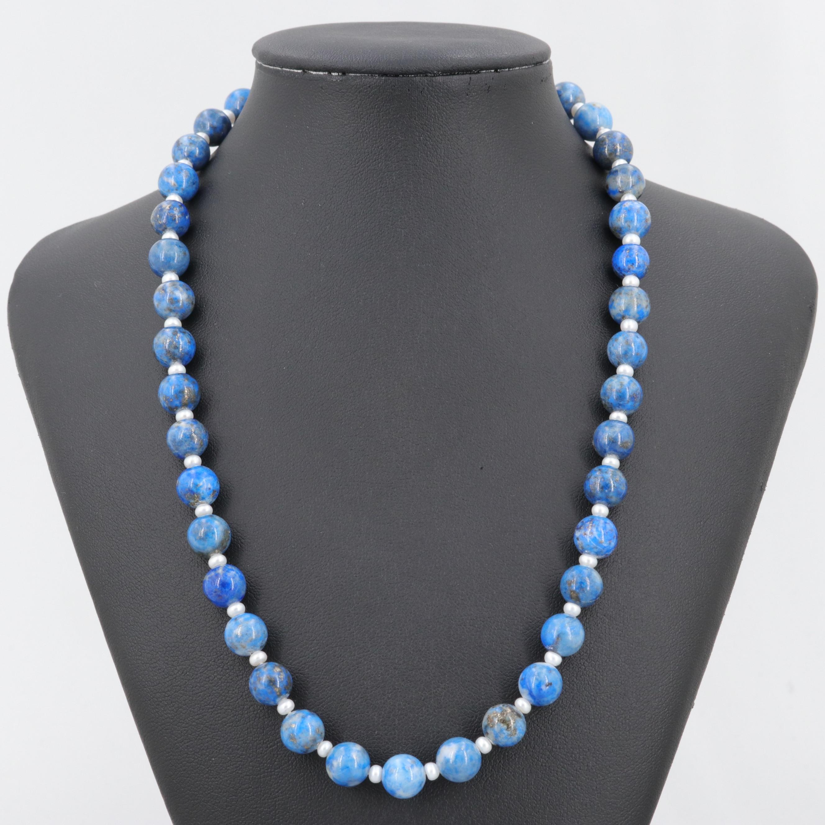 Costume Denim Lapis Lazuli and Cultured Pearl Bead Necklace