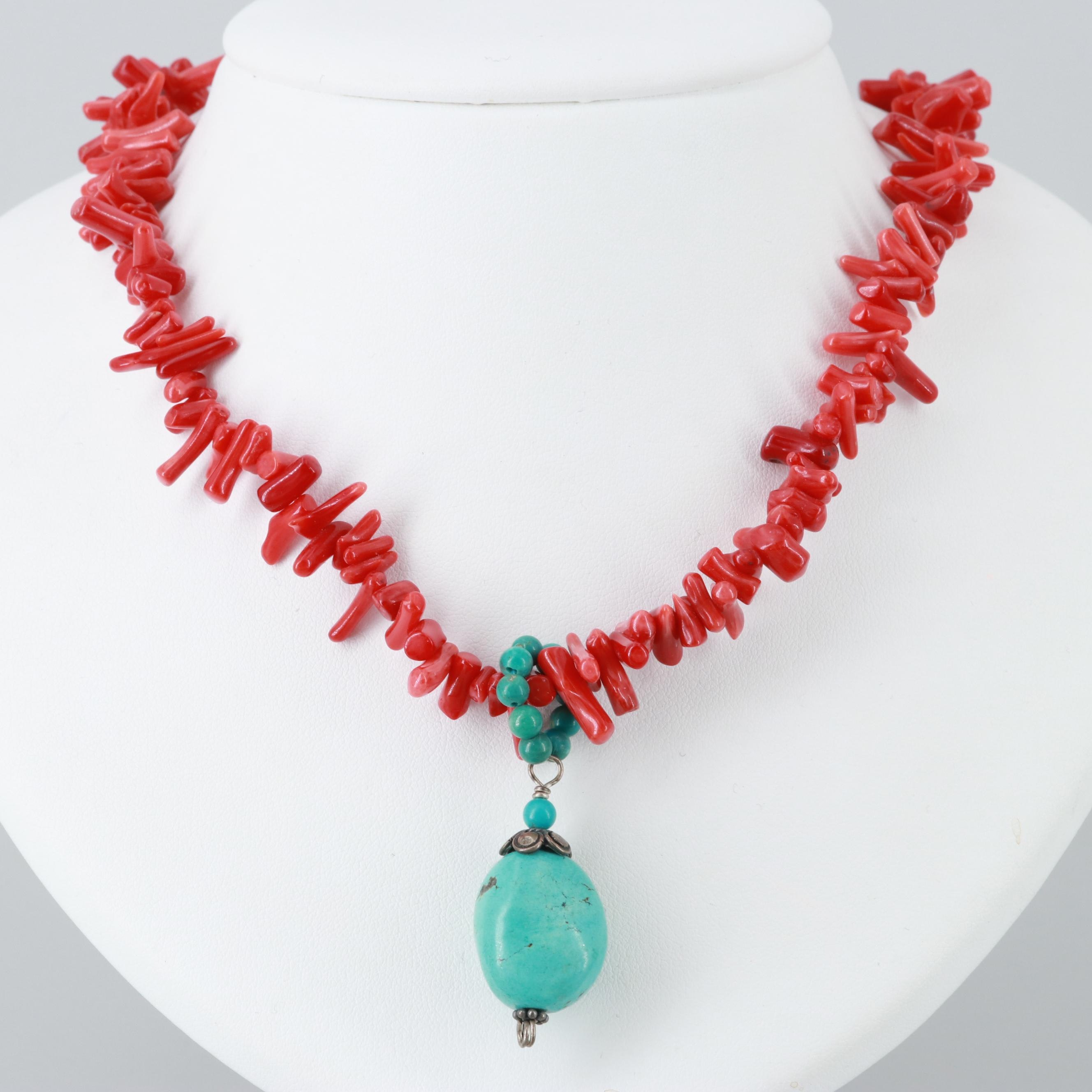 Sterling Silver and Silver Tone Turquoise and Coral Necklace