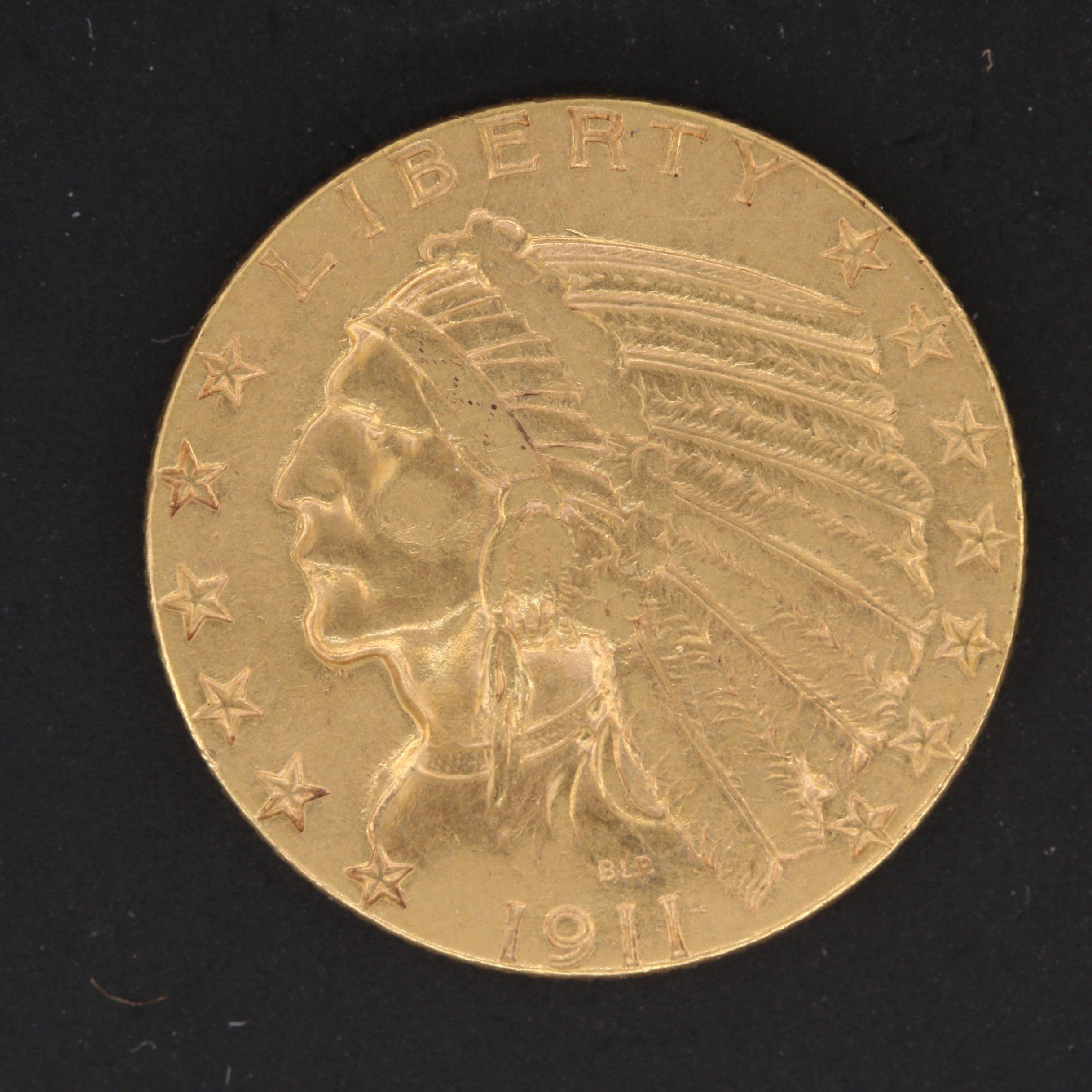 1911 Indian Head $5 Half Eagle Gold Coin