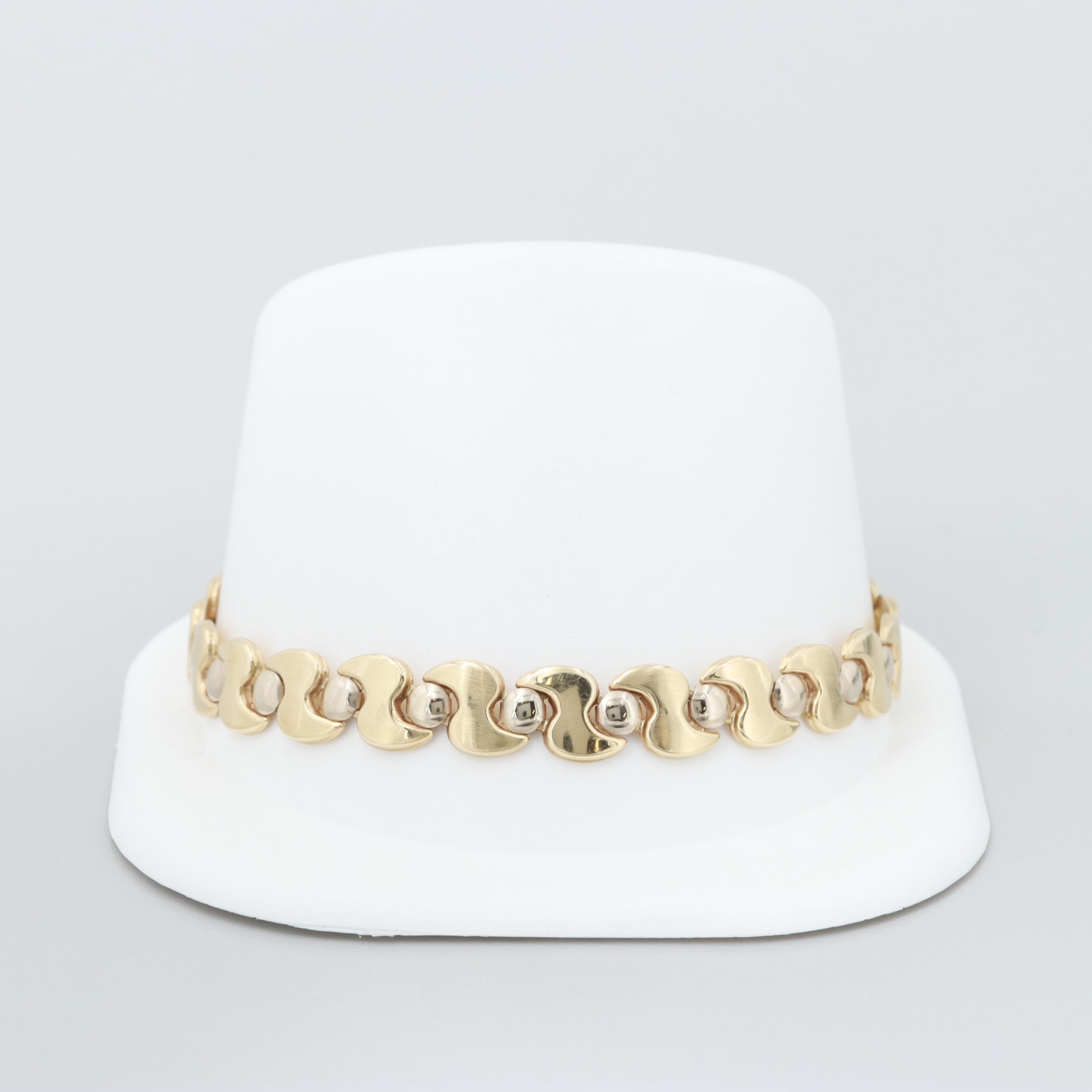14K Yellow Gold Bracelet with White Gold Accents