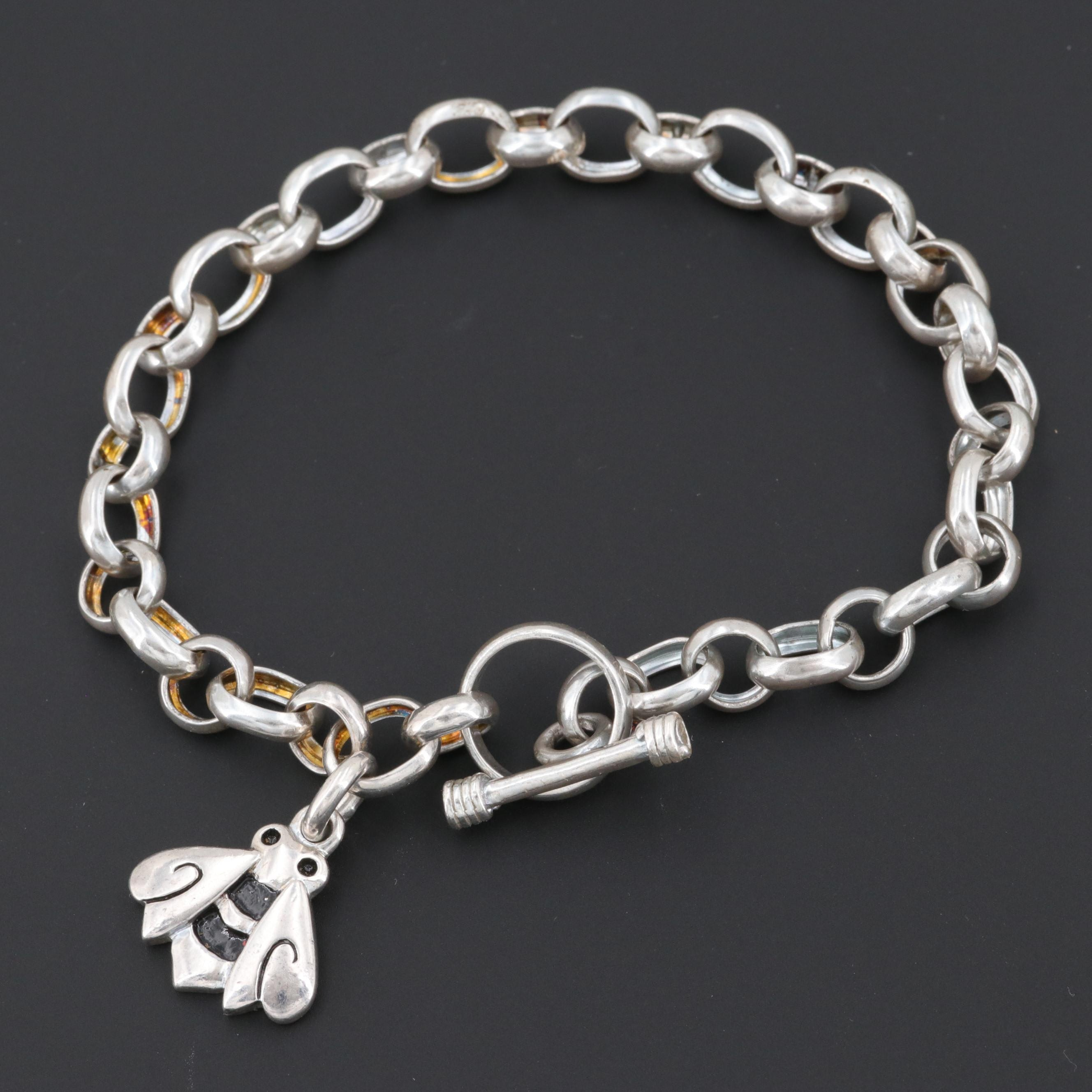 Sterling Silver Bracelet with Enameled Bee Charm