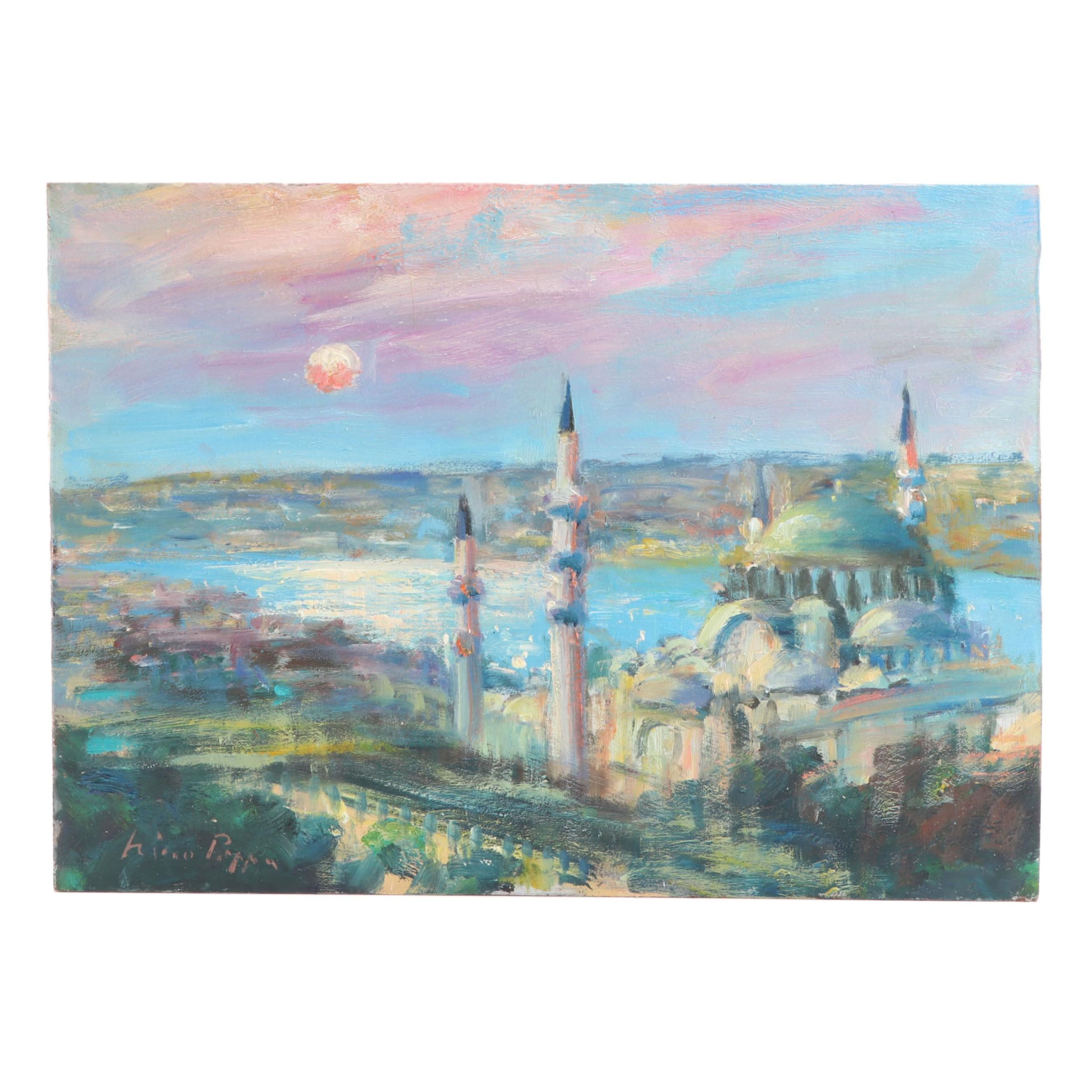 "Nino Pippa Oil Painting ""Istanbul- Moonlight on the Golden Horn"", 21st Century"