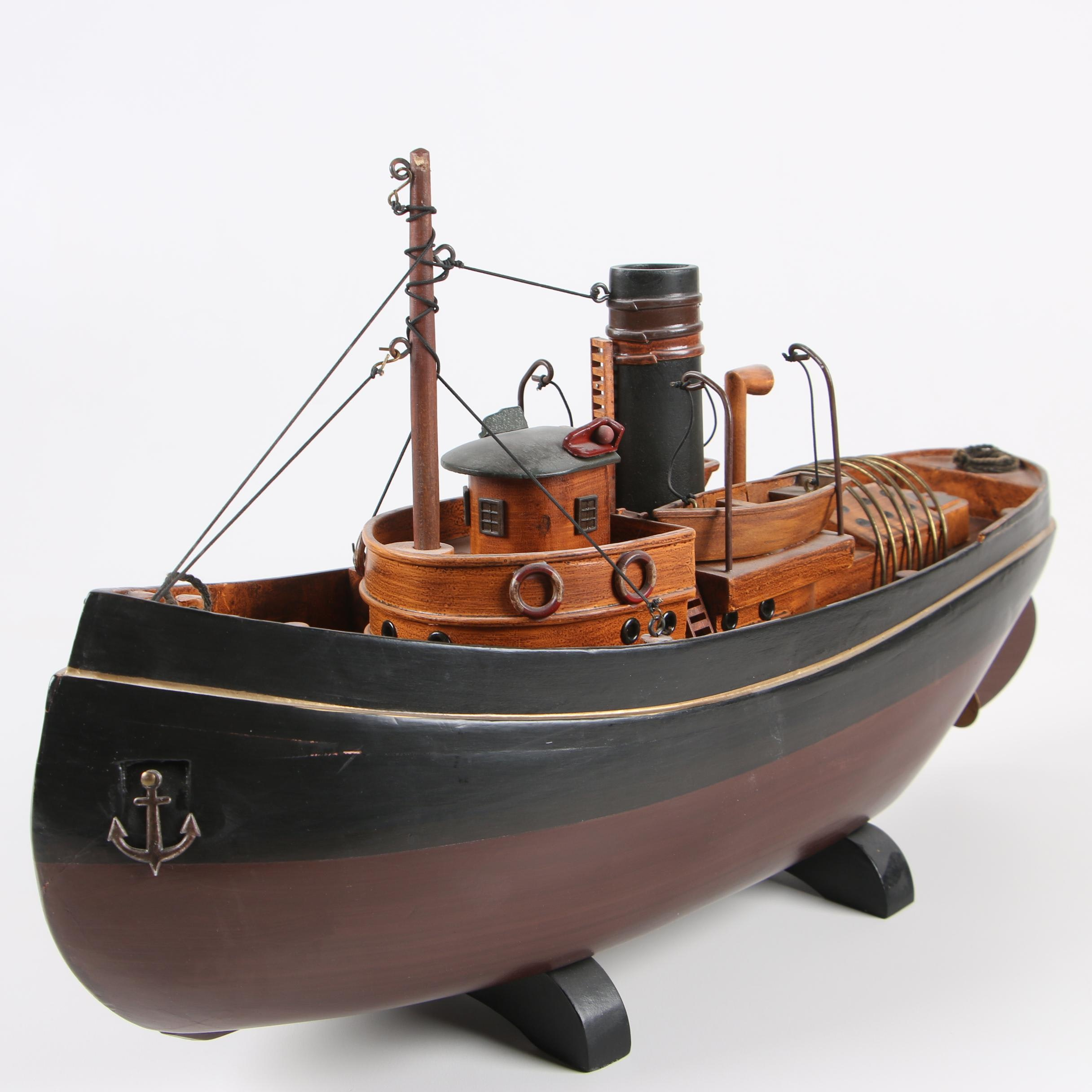 Decorative Painted Wooden Model of 20th Century Tugboat