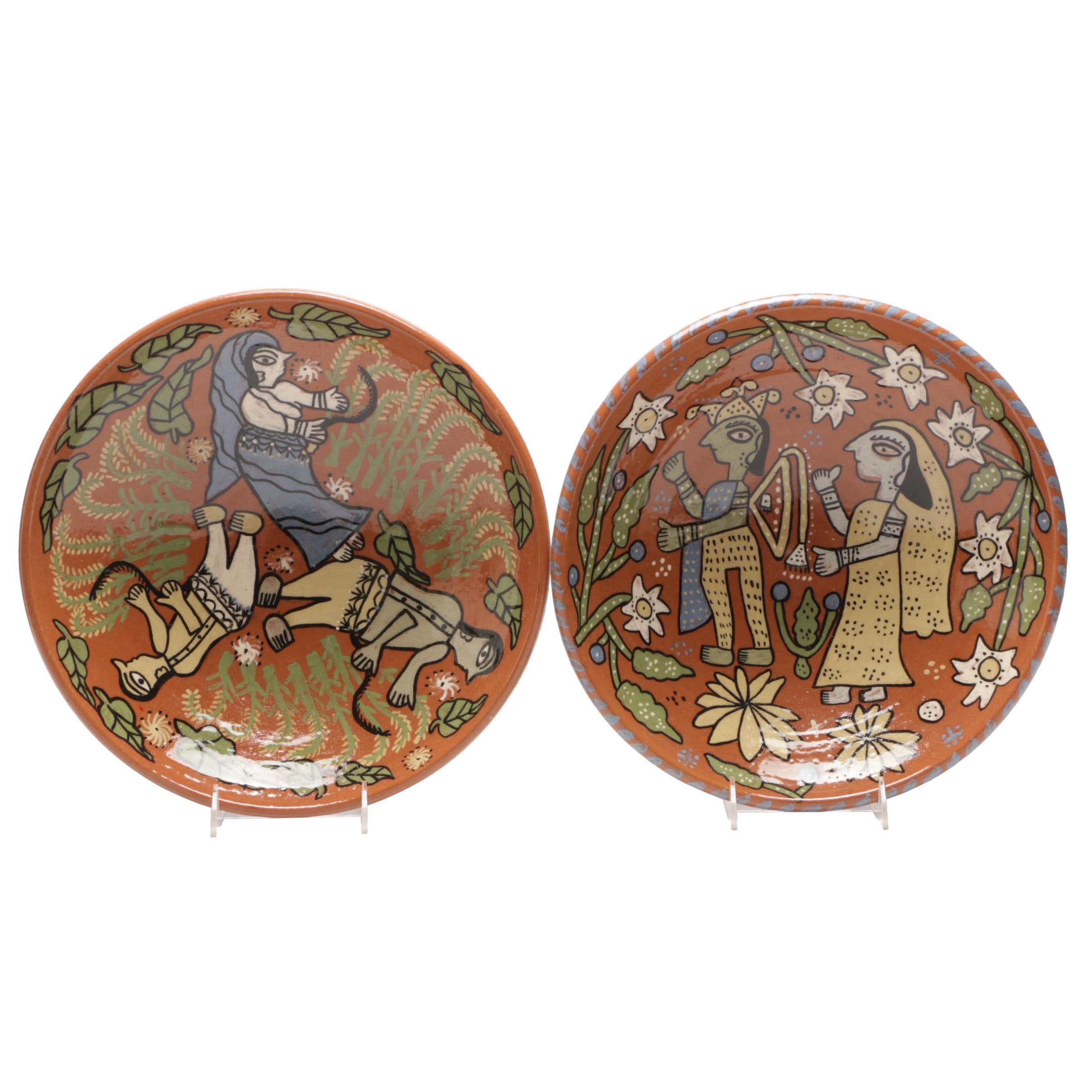 Hand-Painted Indian Style Redware Bowls