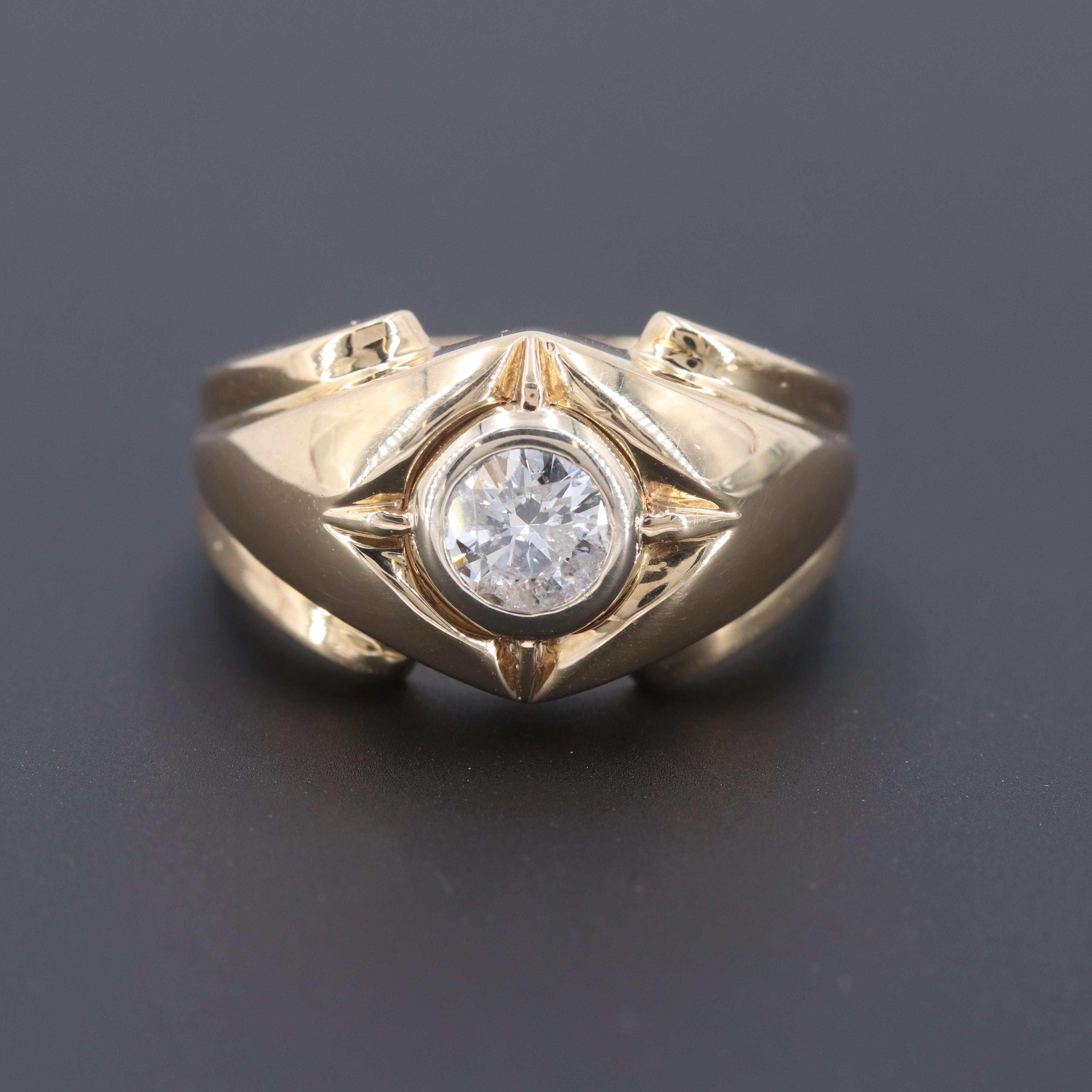 10K Yellow Gold Diamond Bezel Ring