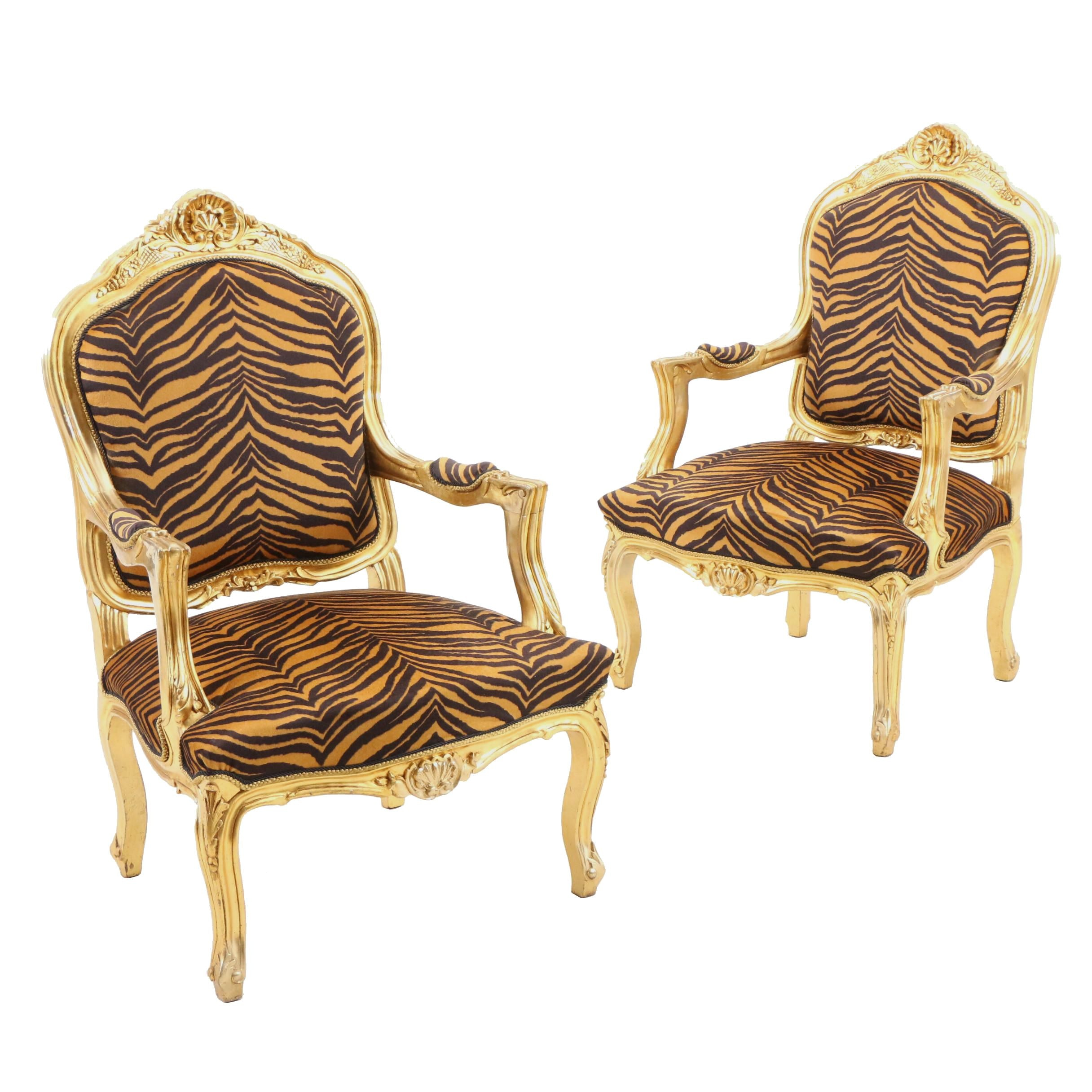 Pair Gilt Painted Louis XV Style Upholstered Arm Chairs