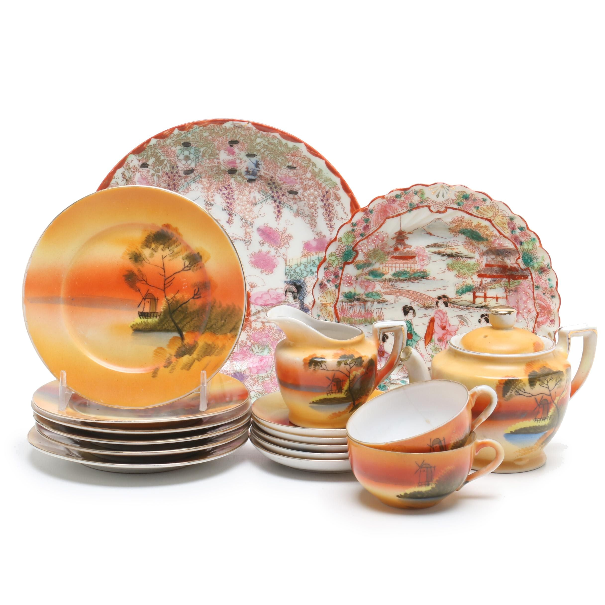 Handpainted Japanese Porcelain Plates and Tea Service