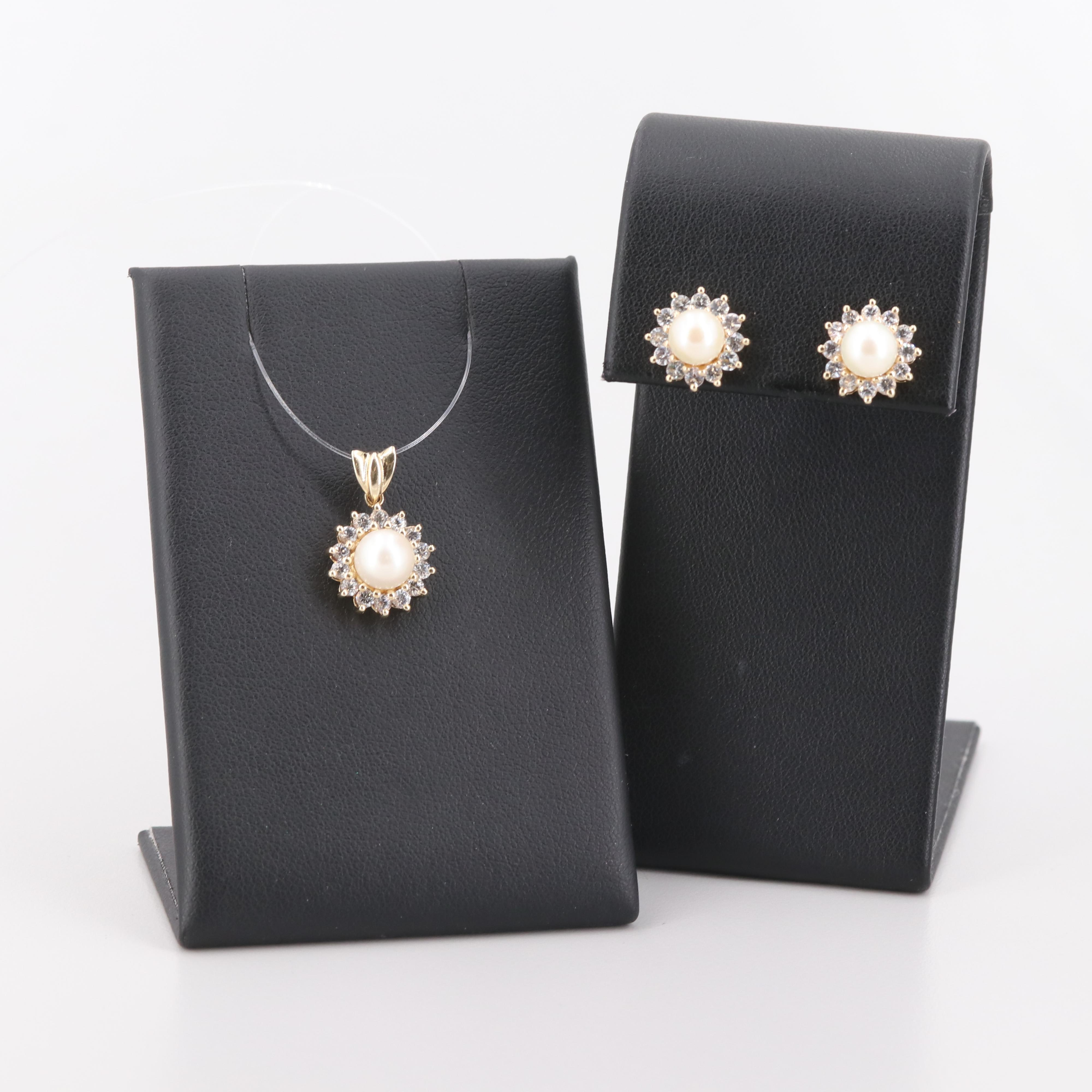 10K Yellow Gold Cultured Pearl Earrings and Pendant with Cubic Zirconia Accents