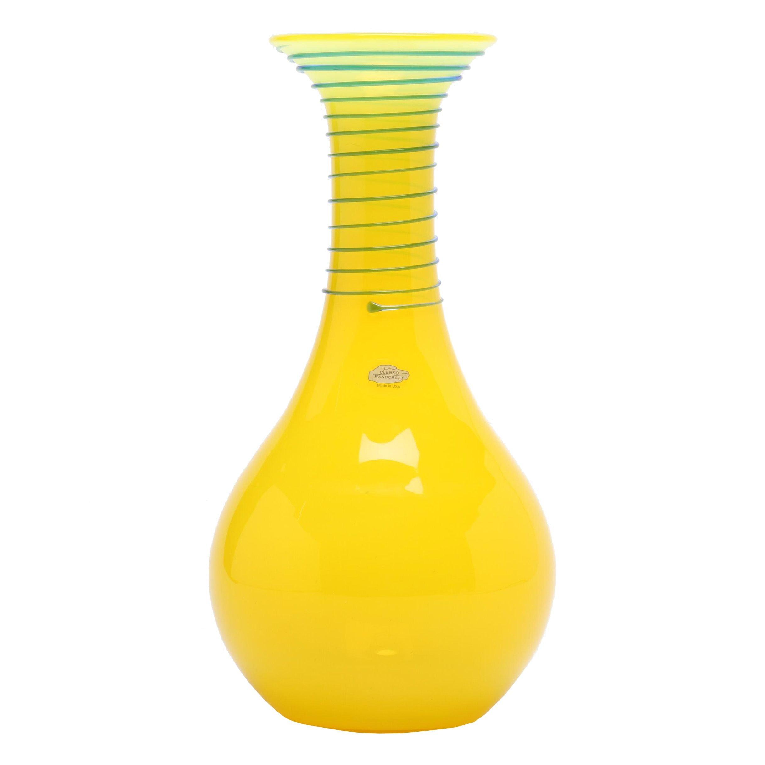 Signed Blenko Hand-Blown Glass Vase
