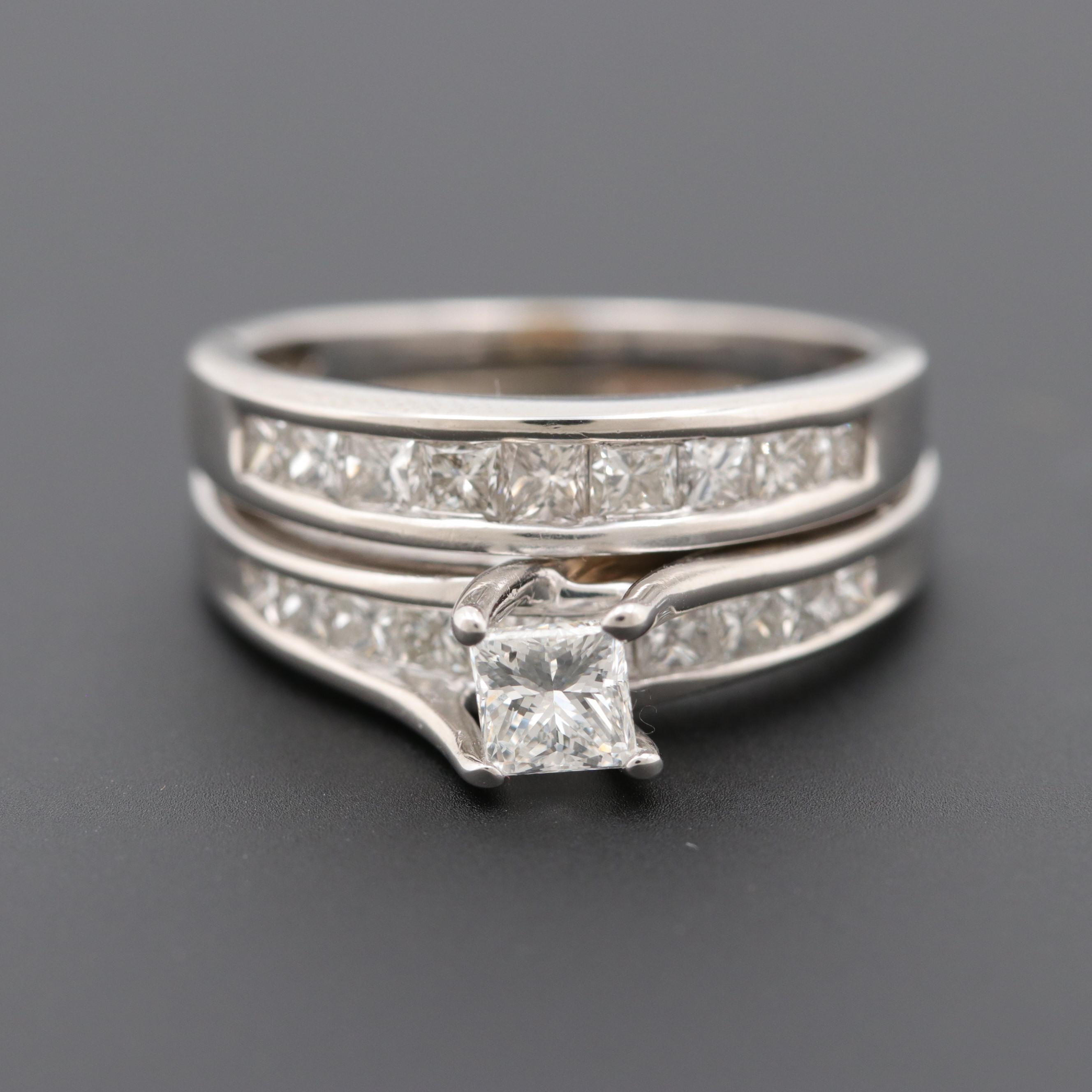 14K White Gold 1.38 CTW Diamond Soldered Ring Set