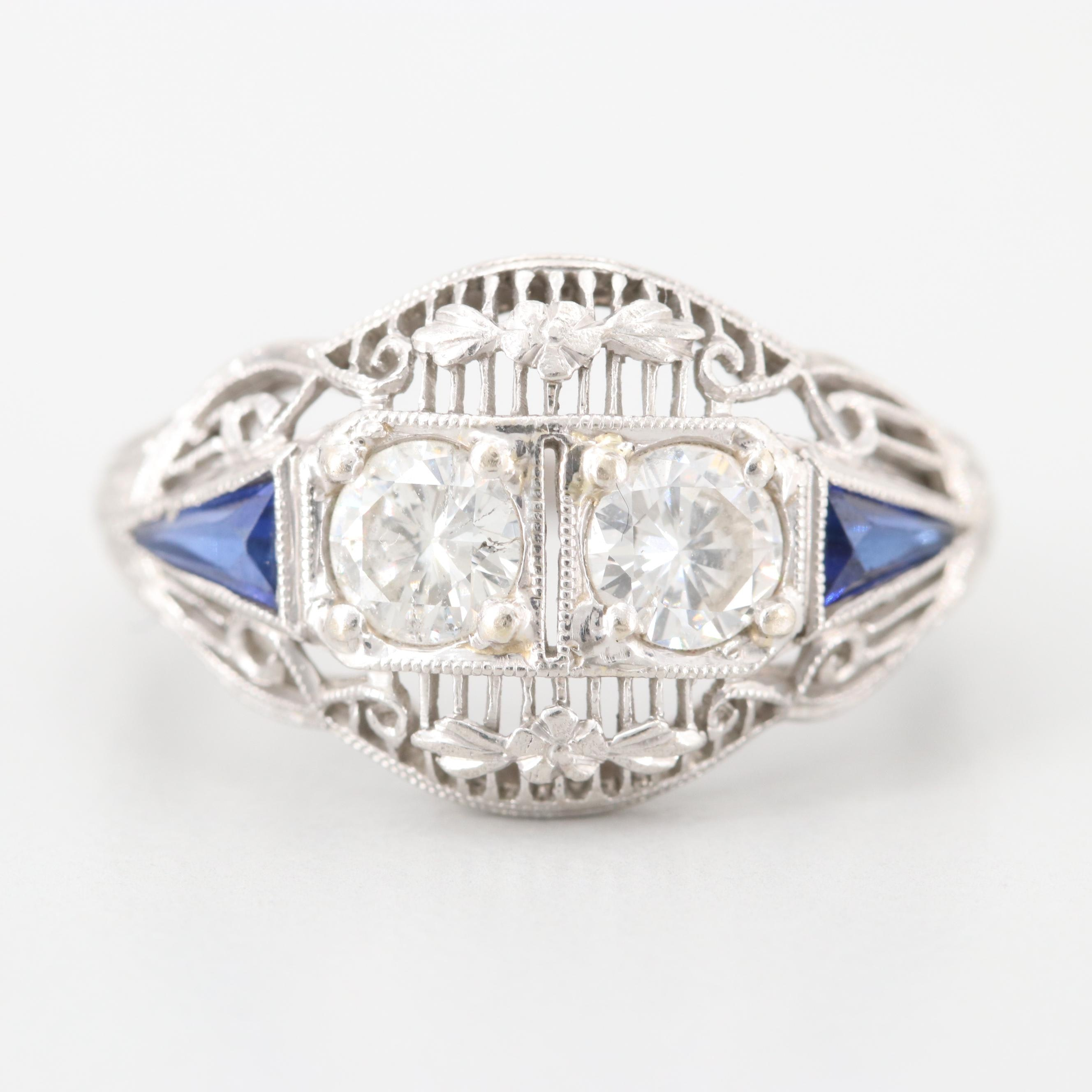 Art Deco Platinum Diamond and Synthetic Sapphire Ring