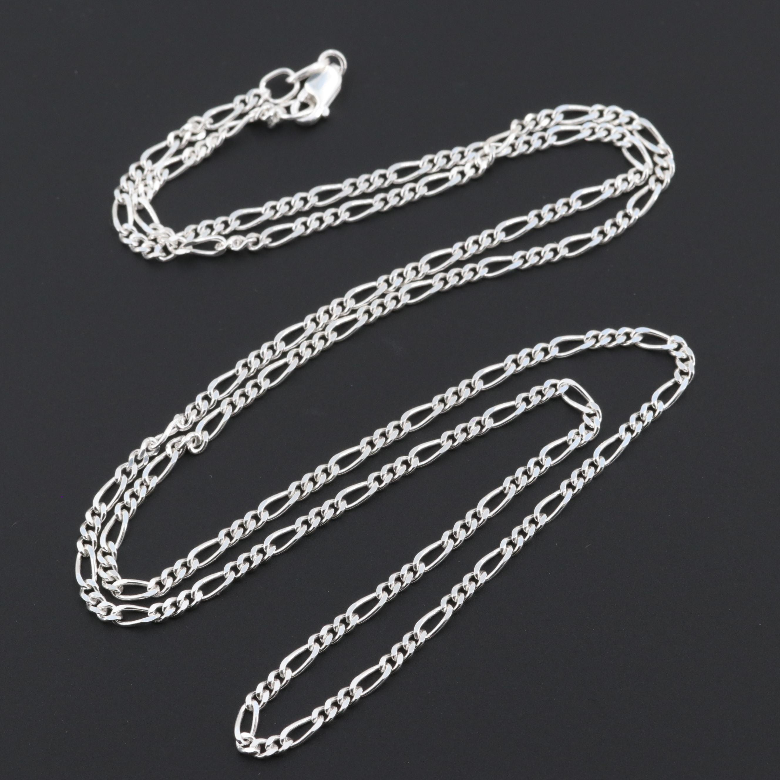 Sterling Silver Figaro Chain Link Necklace