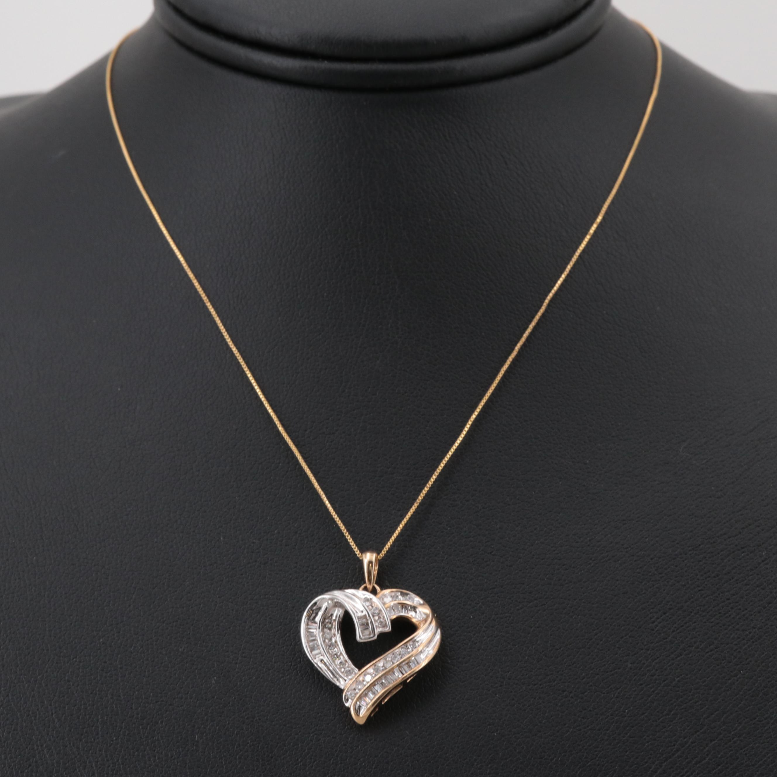10K Yellow and White Gold Diamond Heart Pendant Necklace
