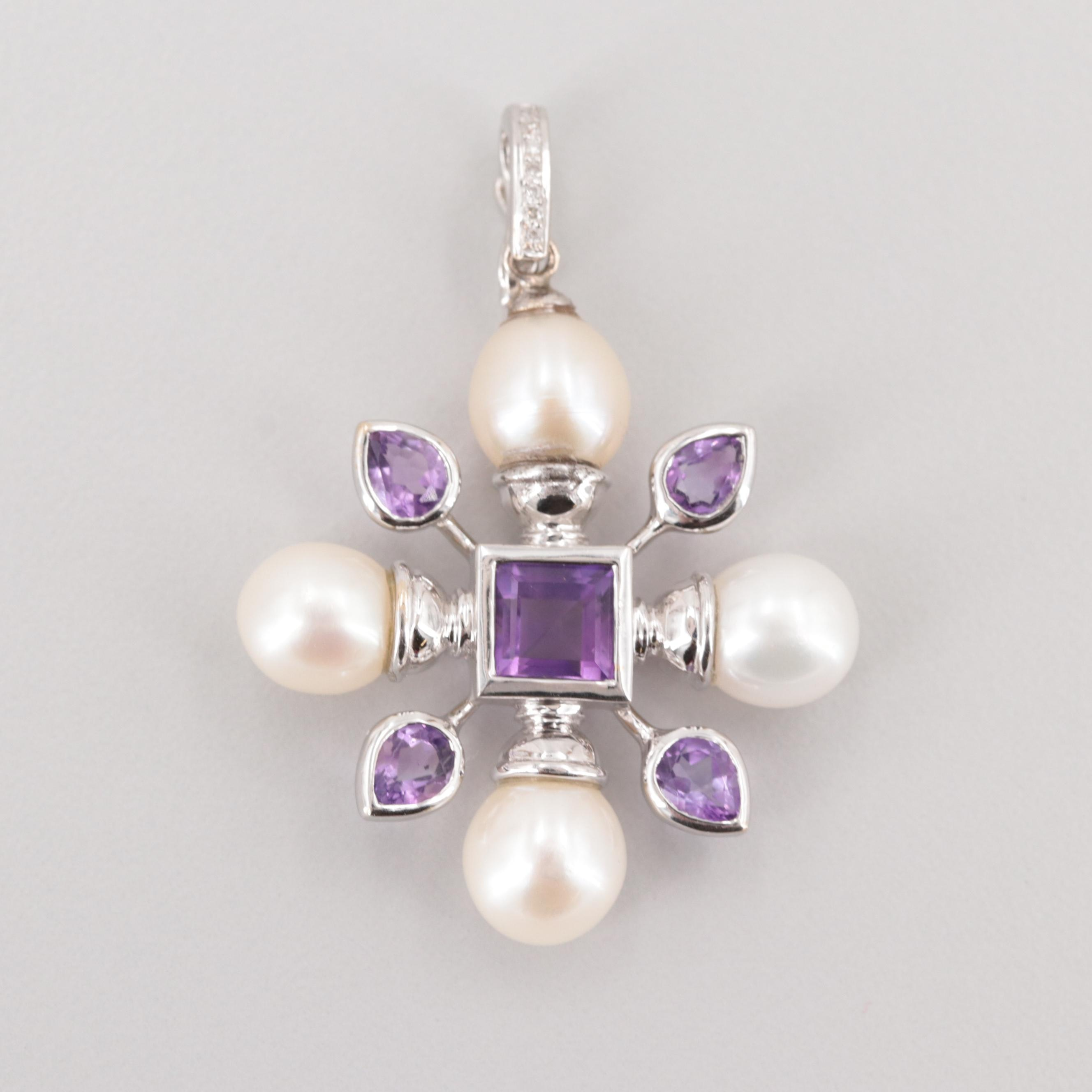 18K White Gold Amethyst, Cultured Pearl, and Diamond Enhancer Pendant