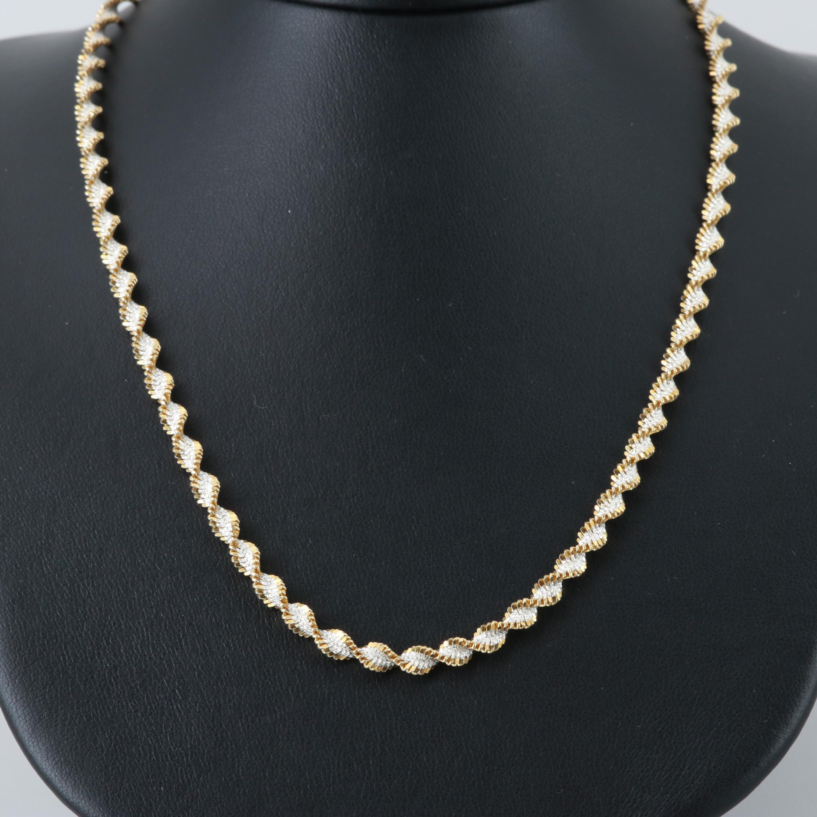 Sterling Silver Twisted Herringbone Necklace with Gold Wash Accents