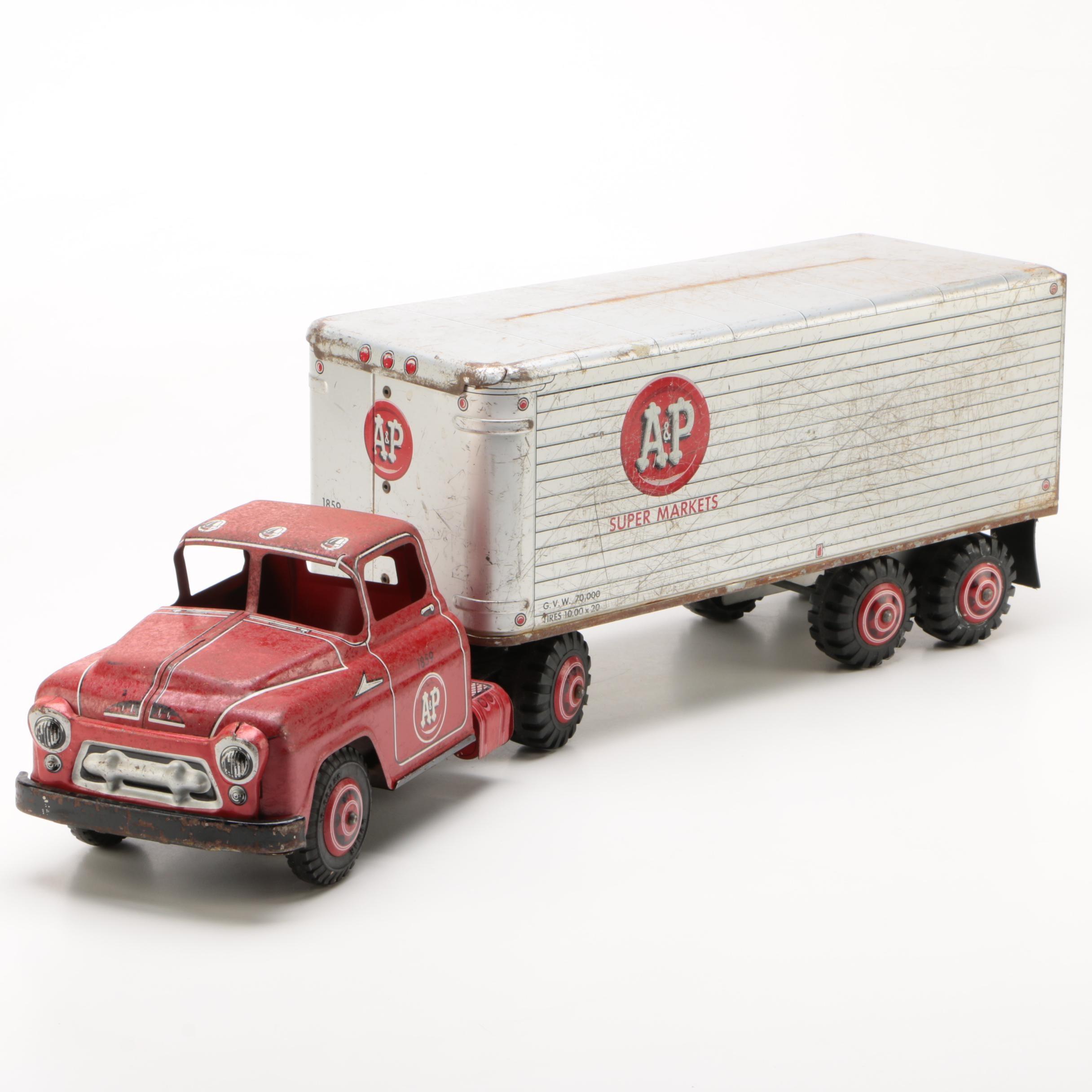 Louis Marx & Co. Printed Tin A&P Supermarkets Semi-Trailer Truck, 1950s