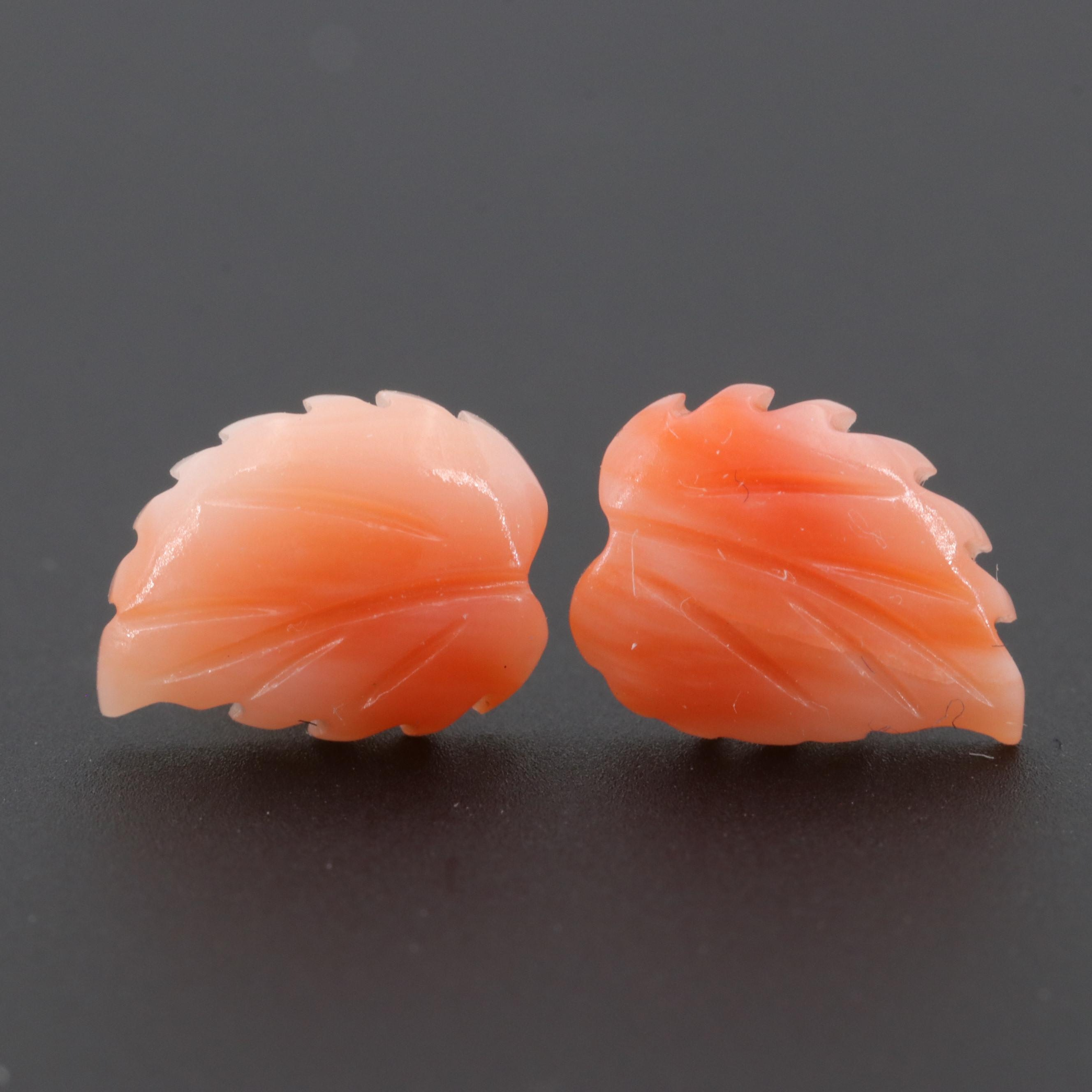 14K Yellow Gold Carved Coral Leaf Motif Earrings
