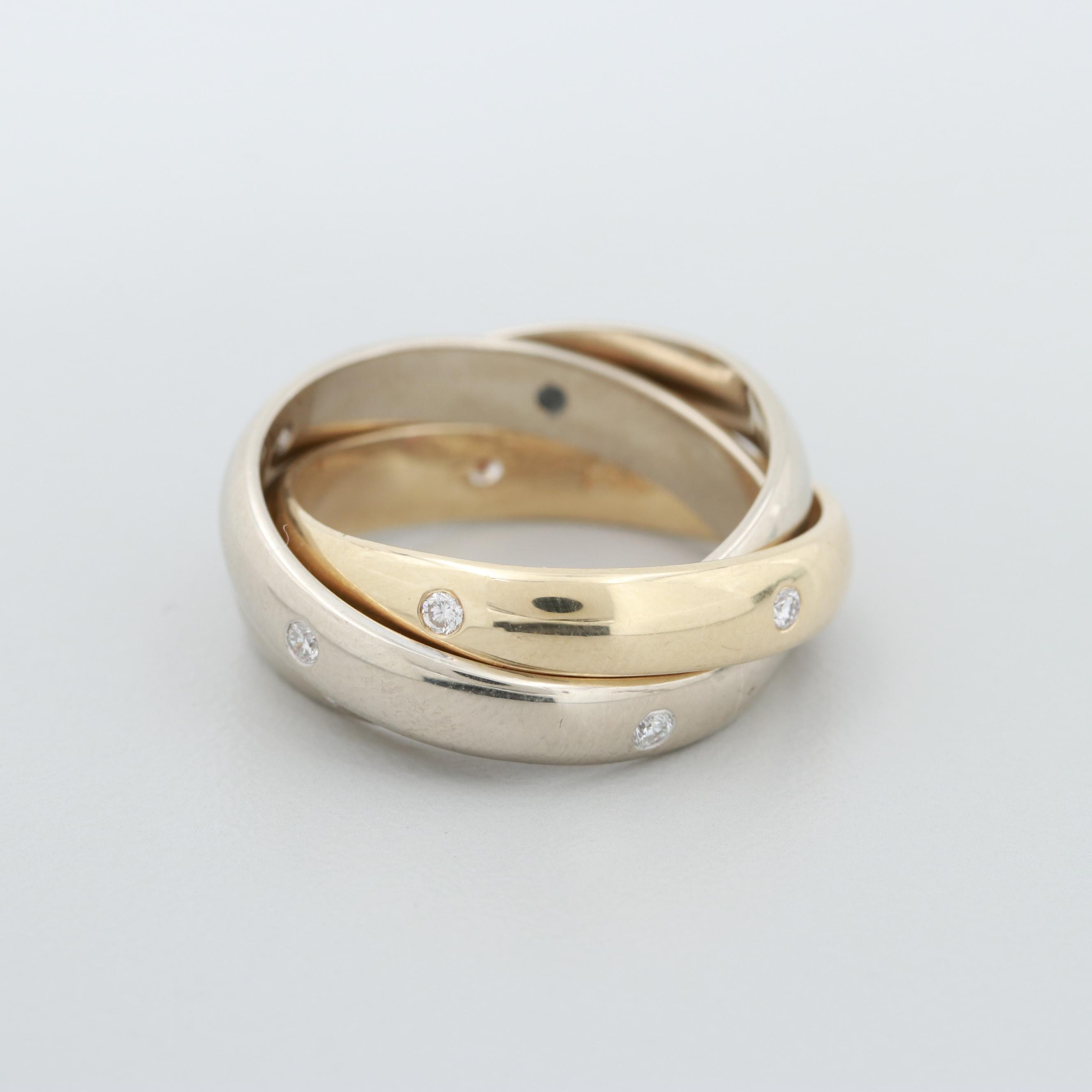 14K White and Yellow Gold Diamond Rolling Ring
