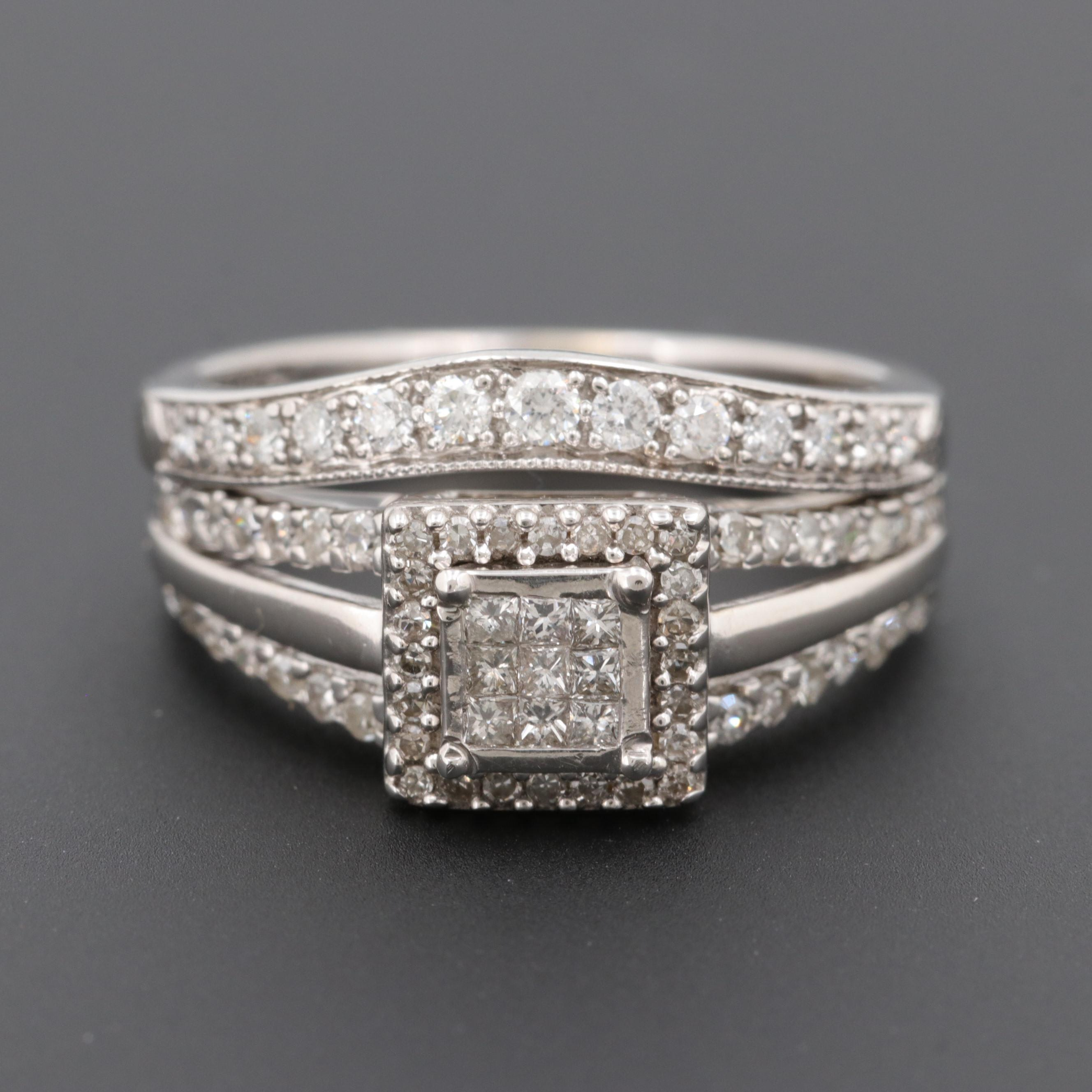 10K and 14K White Gold Diamond Ring