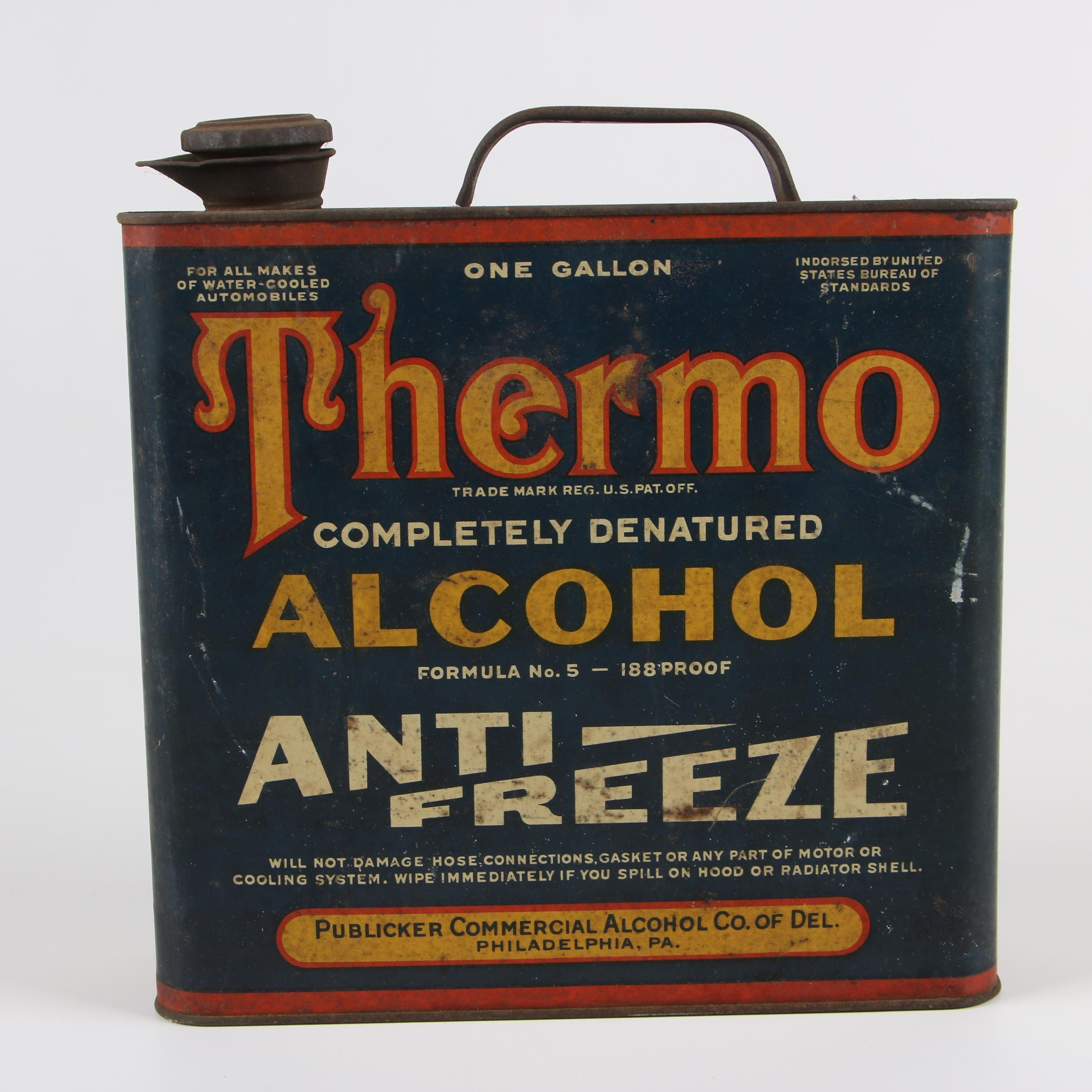 Thermo Completely Denatured Alcohol Antifreeze Container, Early 20th Century