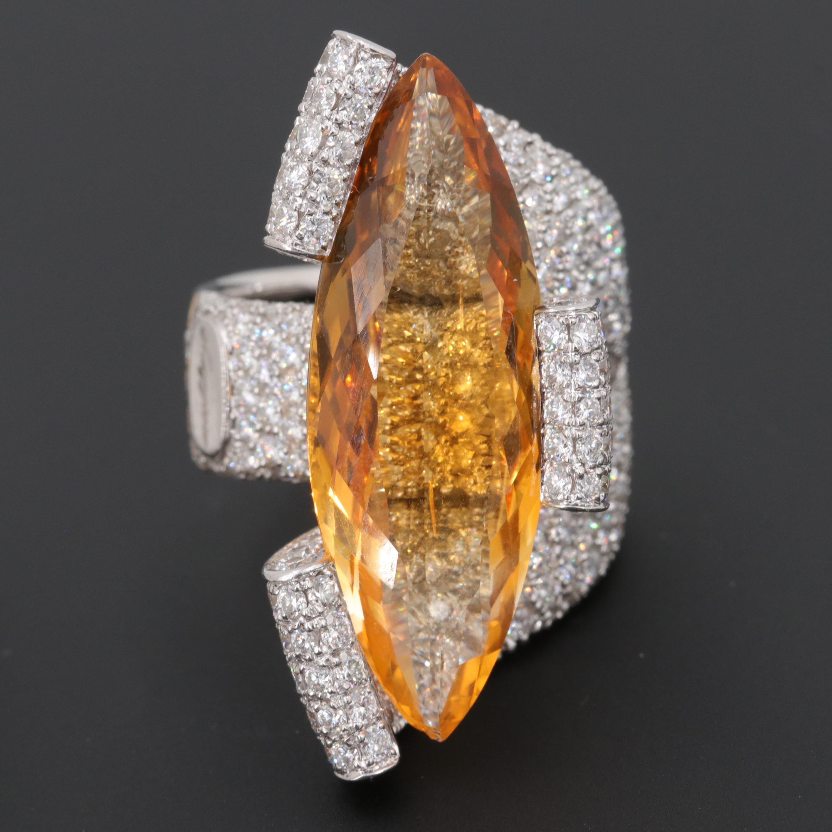 Maggioro 18K White Gold 12.00 CTW Citrine and 5.00 CTW Diamond Ring