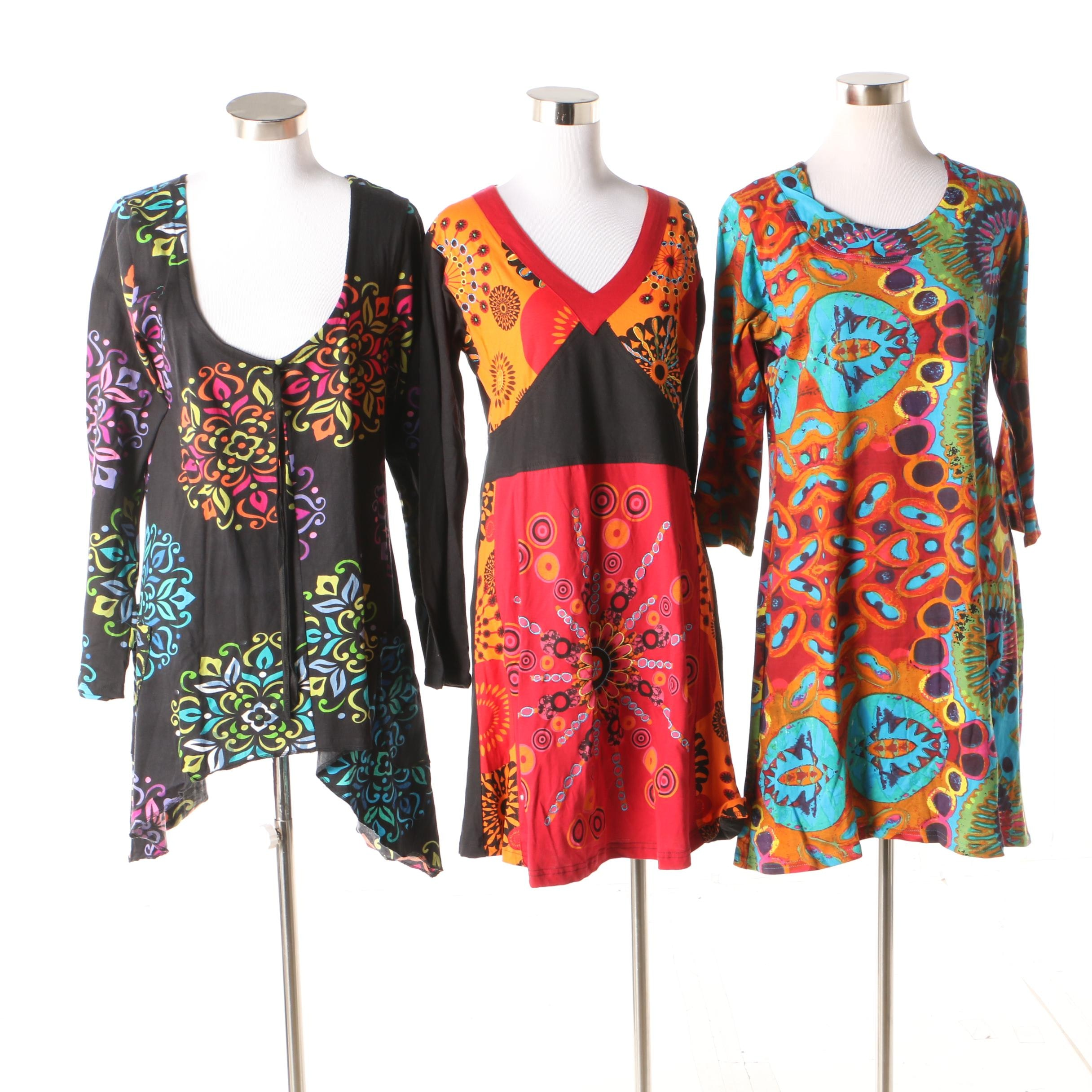 Aller Simplement Printed Cotton Tunics
