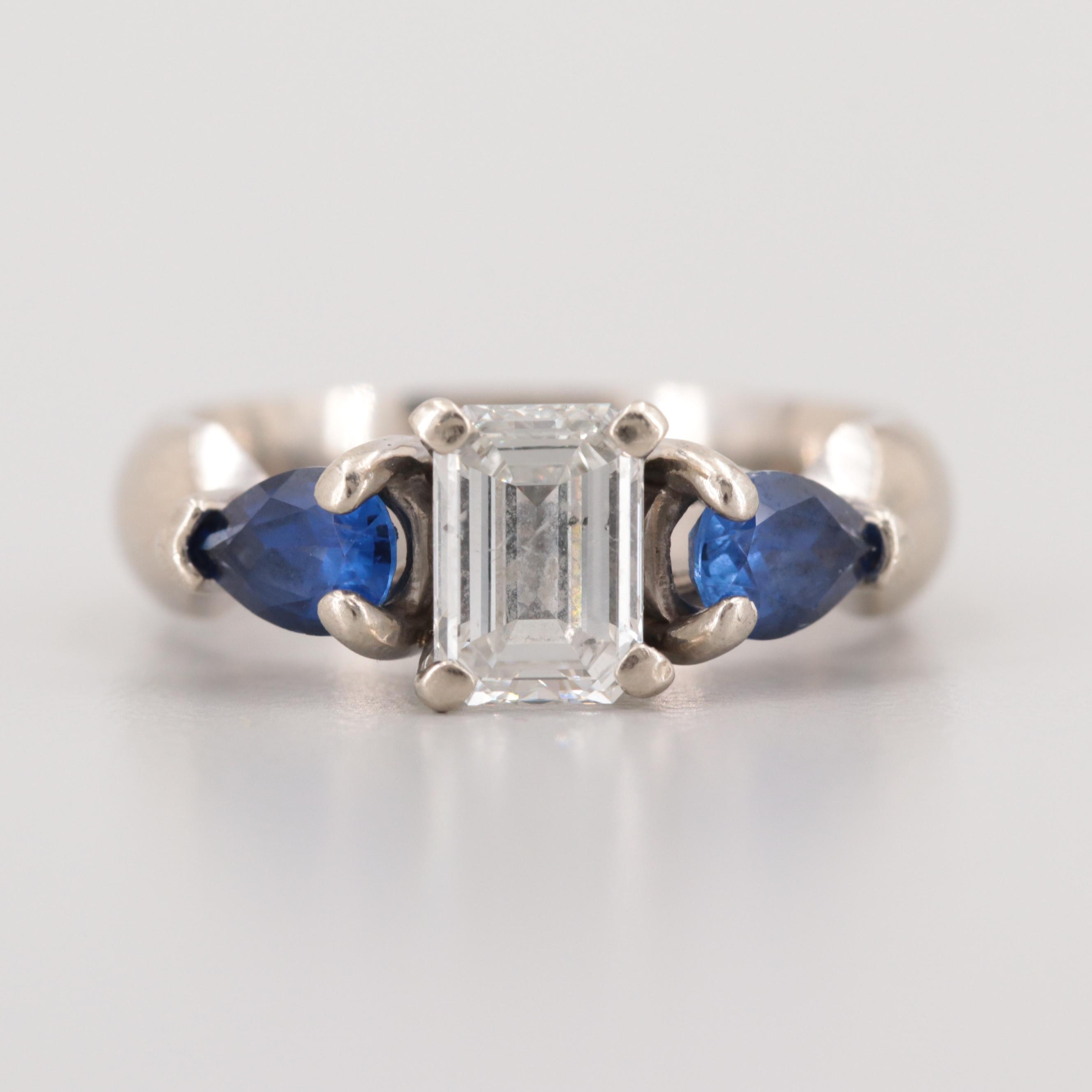 14K White Gold 1.05 CT Diamond and Synthetic Blue Sapphire Ring
