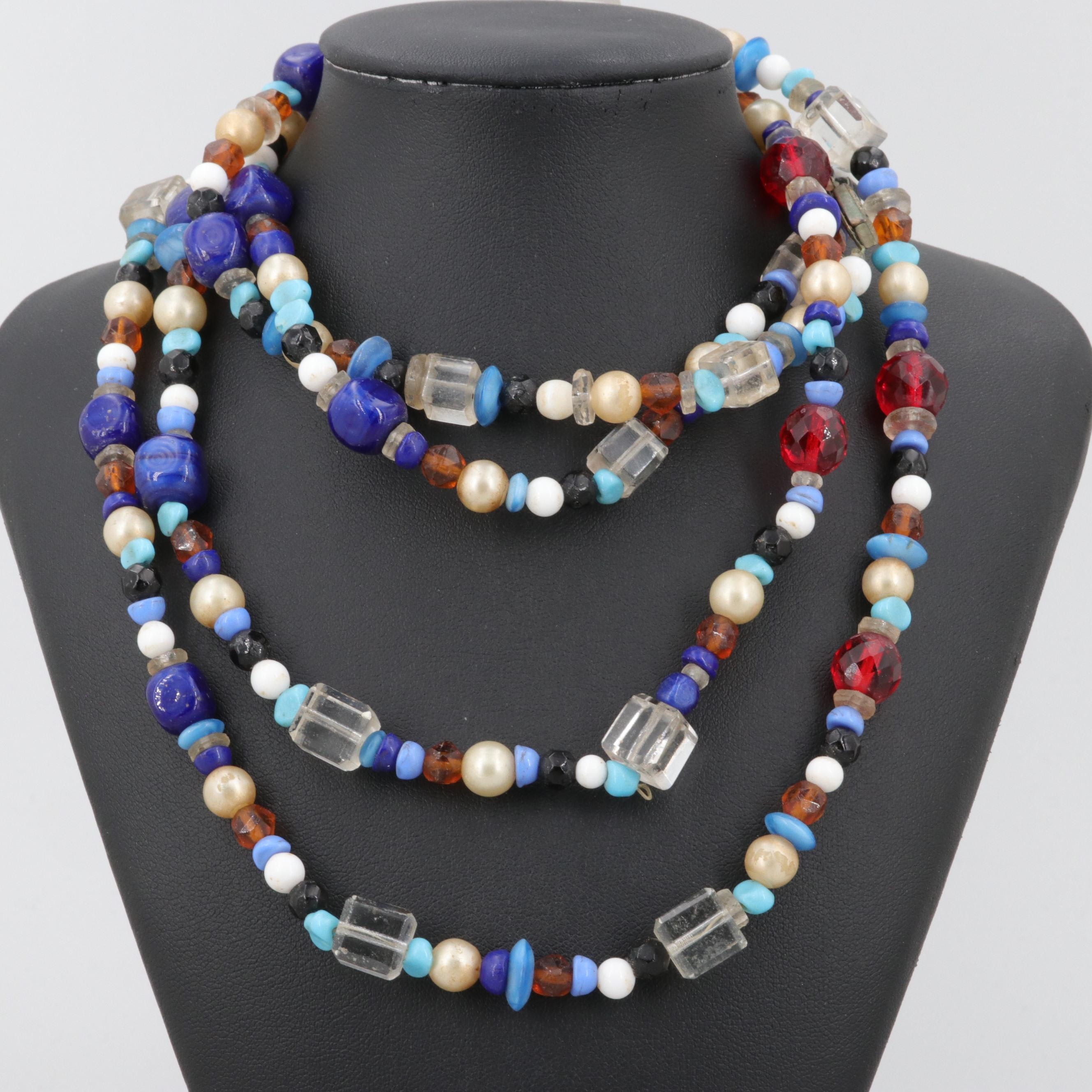 Silver Tone Beaded Necklace Including Glass, Imitation Pearl and Plastic