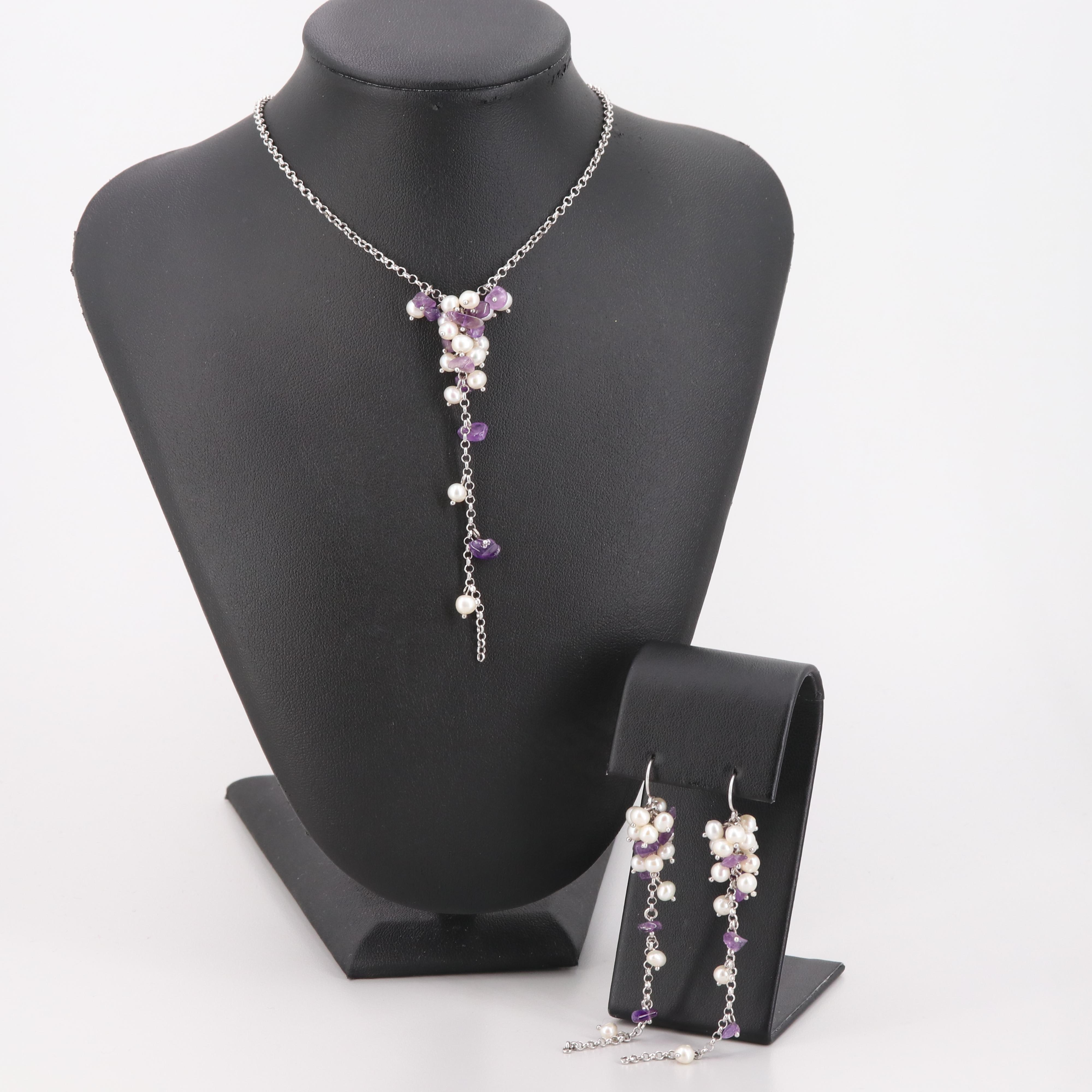 Sterling Silver Amethyst and Cultured Pearl Earrings and Necklace Set