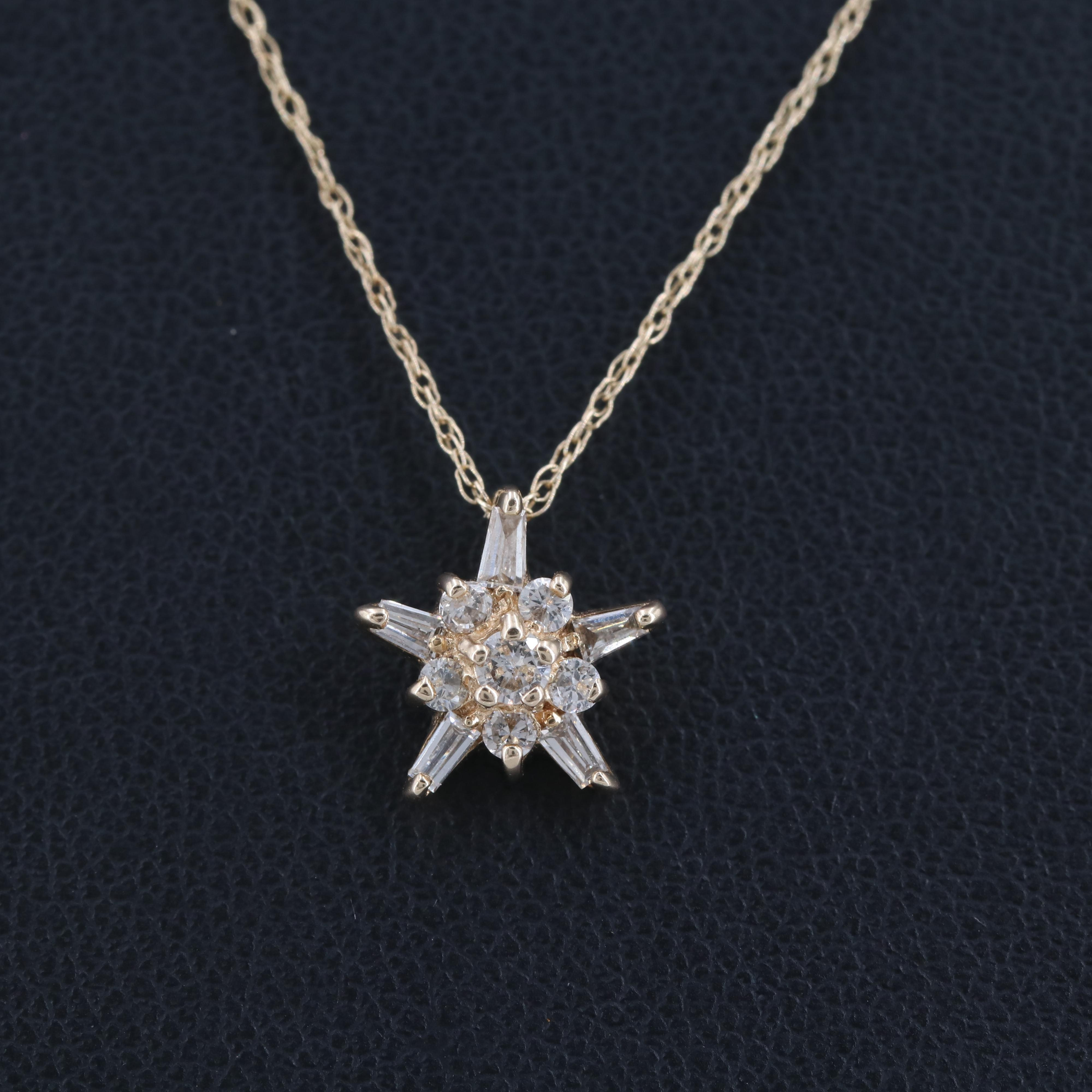 10K and 14K Yellow Gold Diamond Necklace