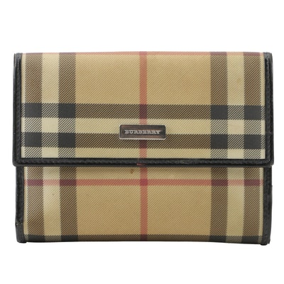 37341e7208a1 Burberry London Tan Nova Check Coated Canvas and Black Leather Wallet