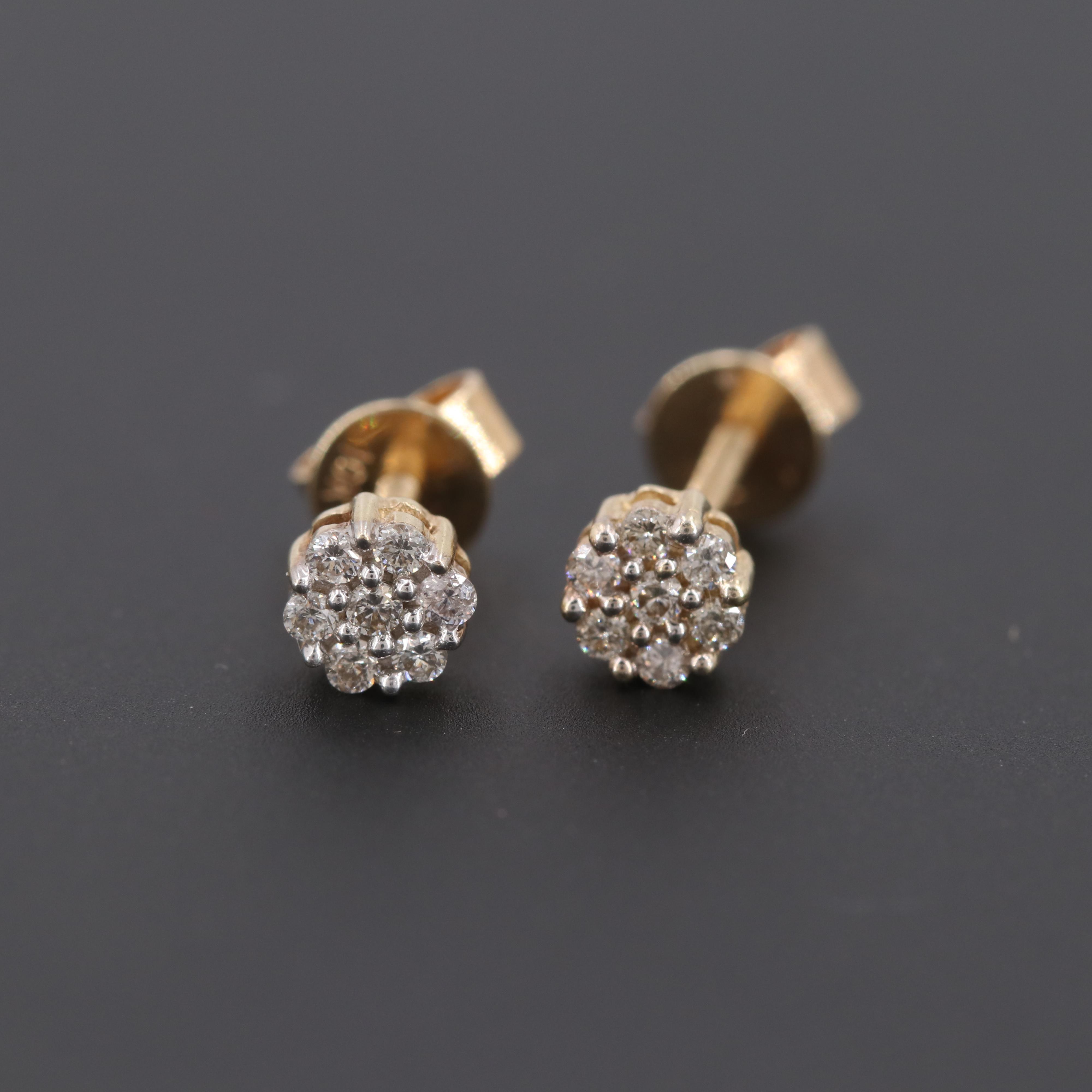 10K Yellow Gold Diamond Cluster Stud Earrings
