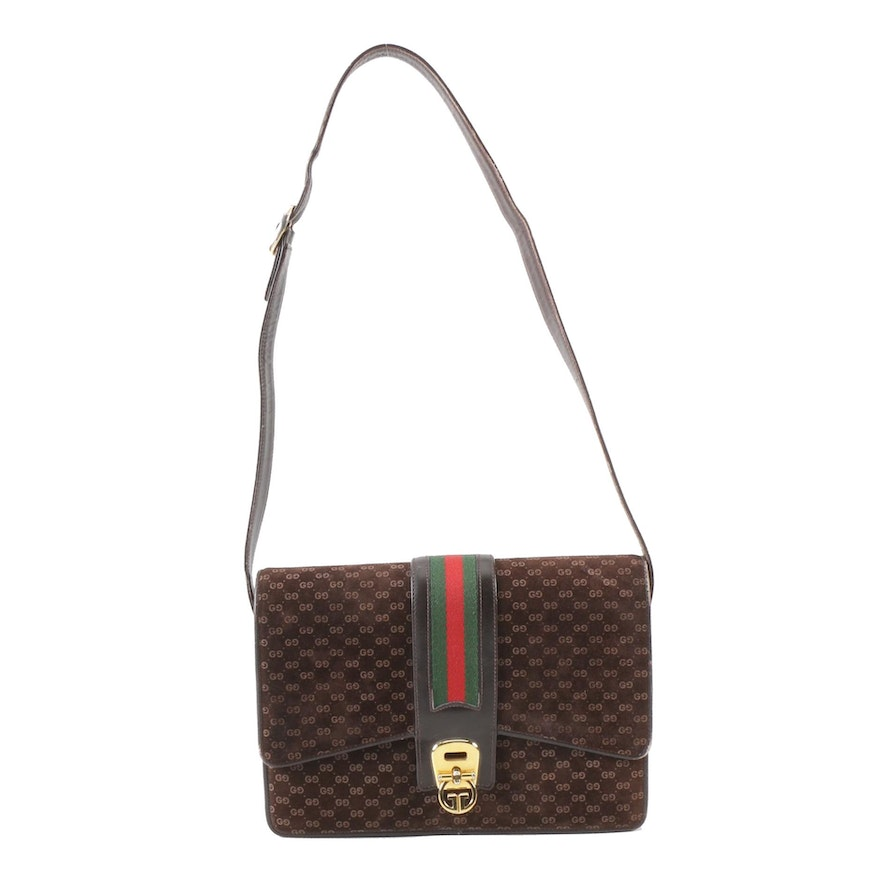 df6e5254f143 Gucci GG Brown Suede Shoulder Bag with Web Stripe Accent, Vintage : EBTH