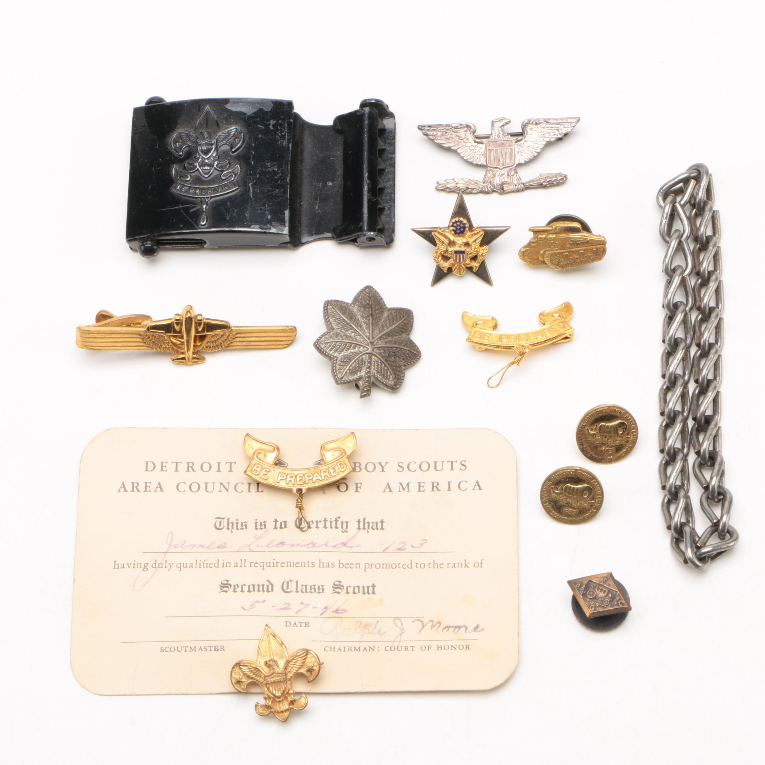"""Boy Scouts """"Be Prepared"""" Badge with Other Badges and Pins, Mid-Century"""