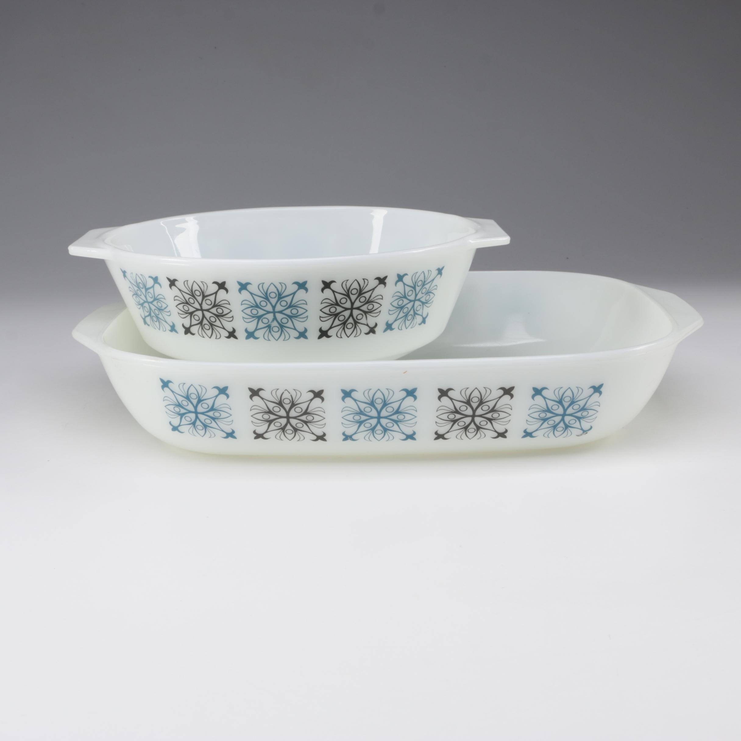 "James A. Jobling for Pyrex ""Chelsea"" Glass Casserole and Baking Dishes, 1967"