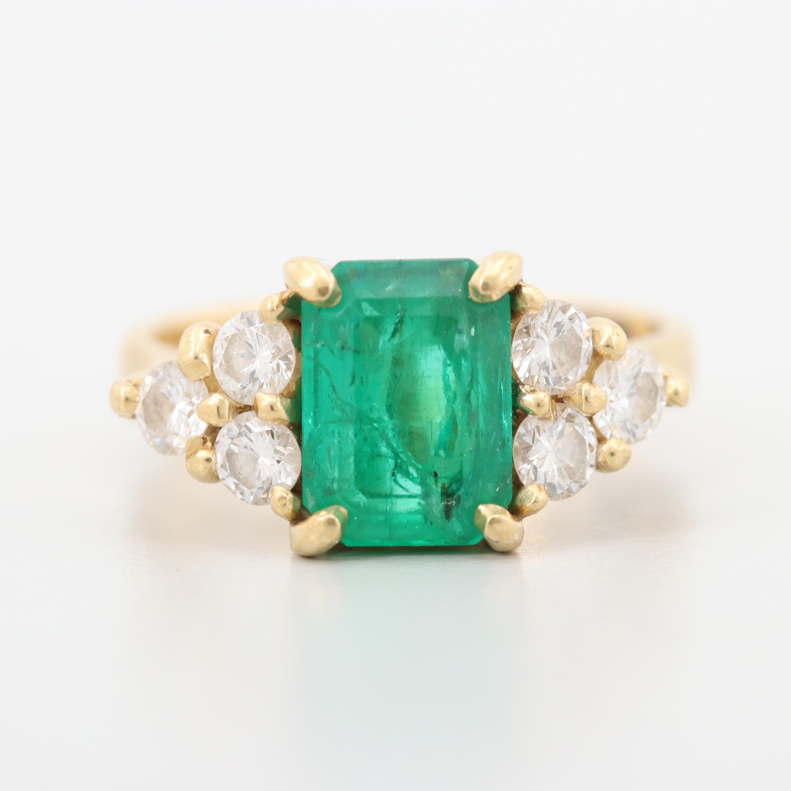 18K Yellow Gold 1.81 CT Emerald and Diamond Ring