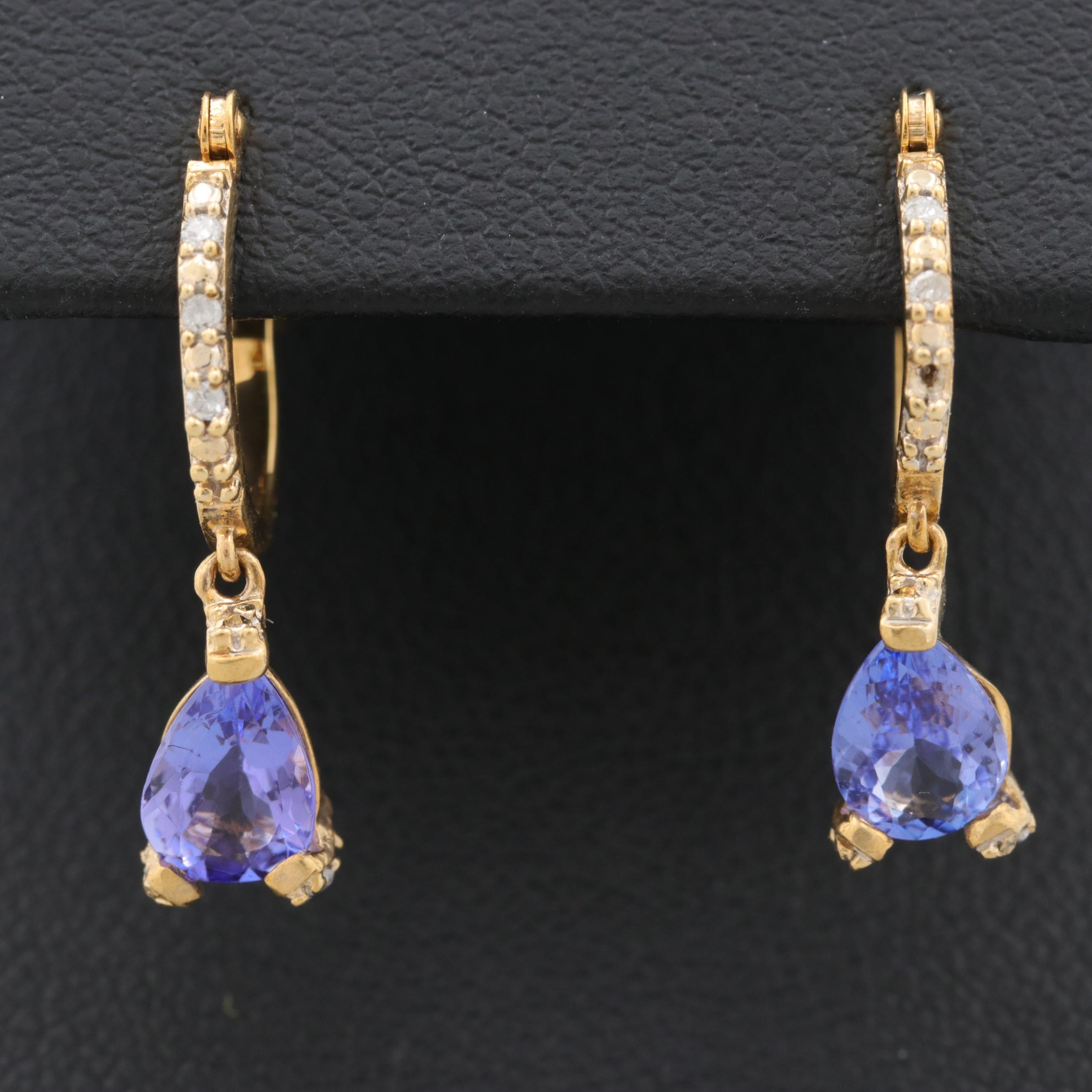 10K Yellow Gold Tanzanite and Diamond Dangle Earrings