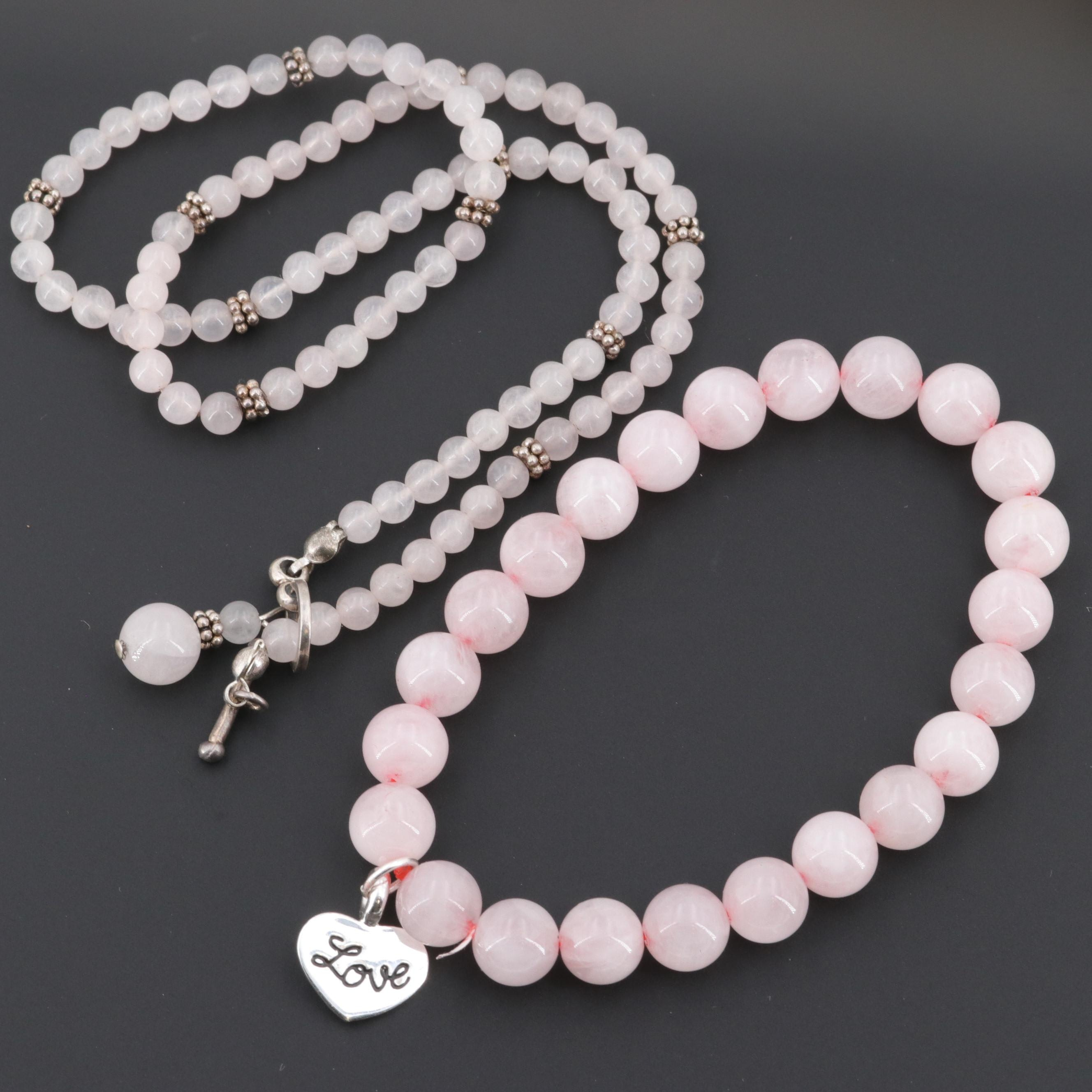 Sterling Silver Rose Quartz Beaded Necklace and Expandable Bracelet